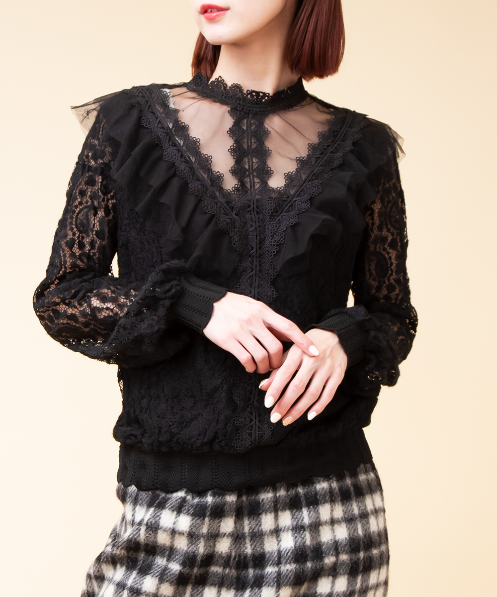 Front Design Sheer Ruffle Blouse