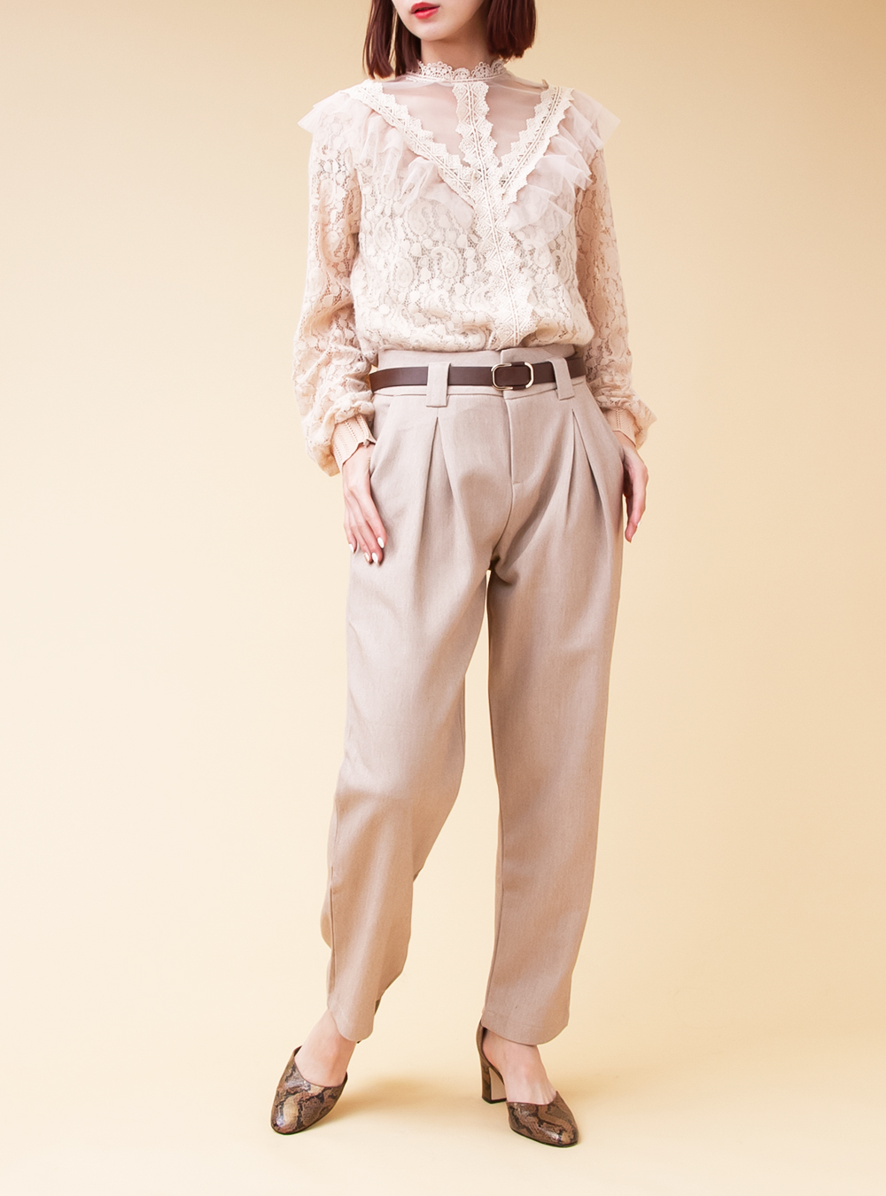 Light Beige Straight Pants