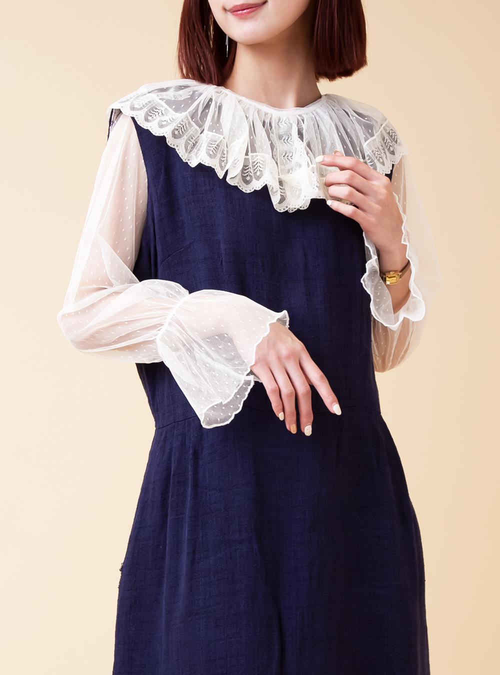Lace Big Collar Tulle Blouse