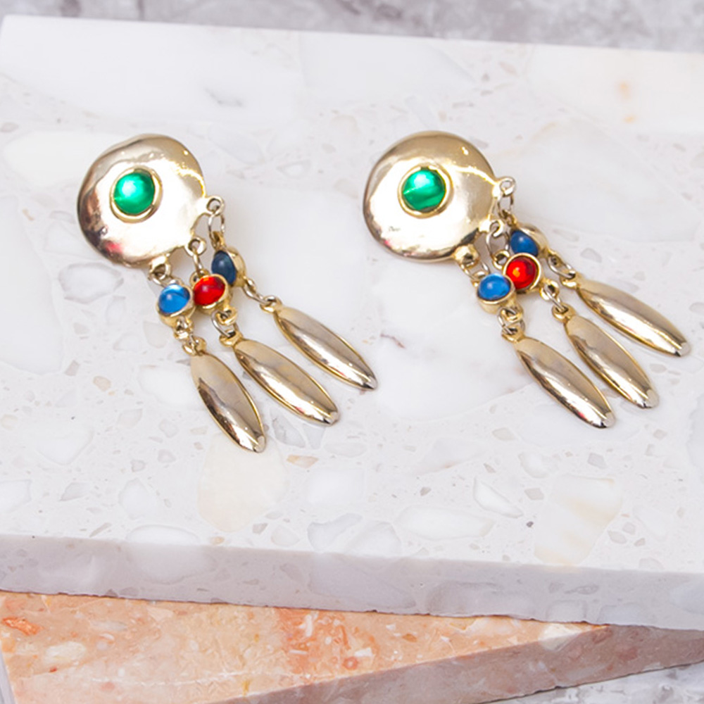Gold Collar Charm Earrings