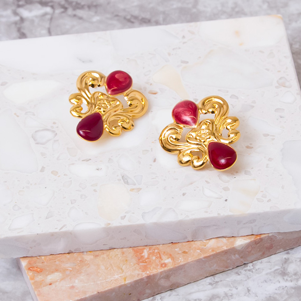 Gold × Red Emblem Earrings