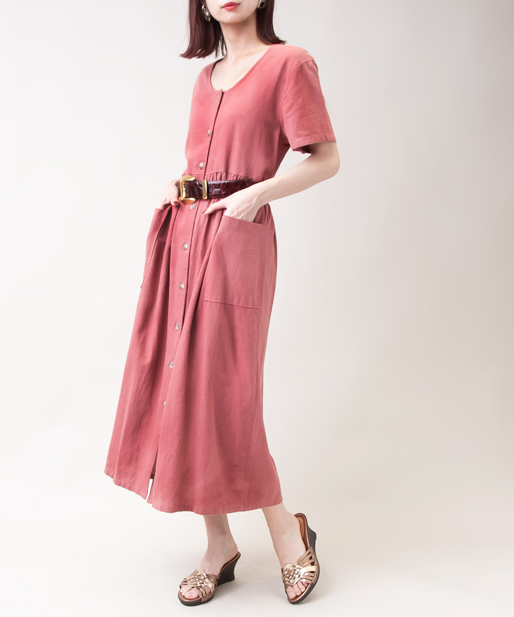 Coral Pink Dress With Pocket