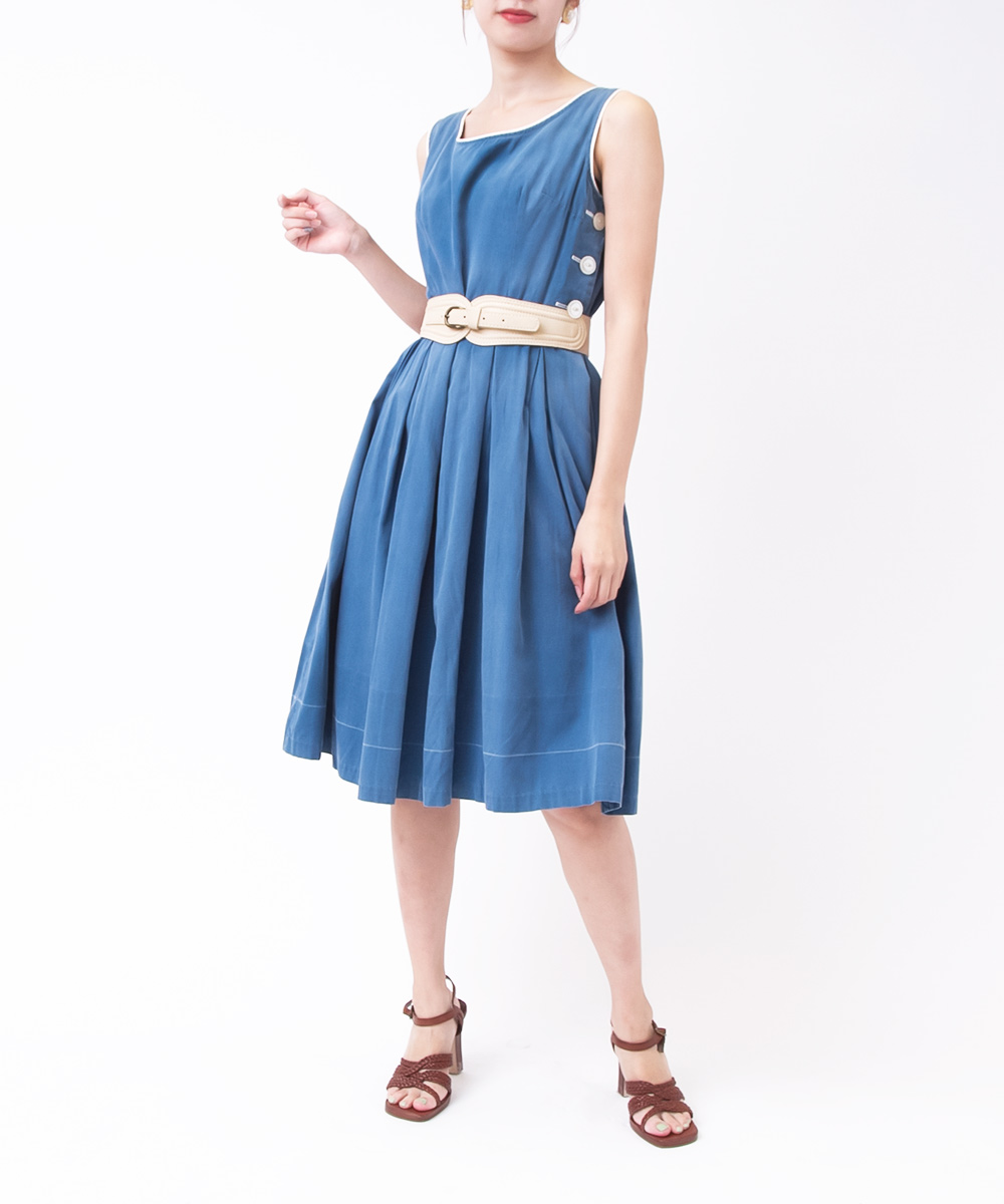 1950's Button Design Denim Dress