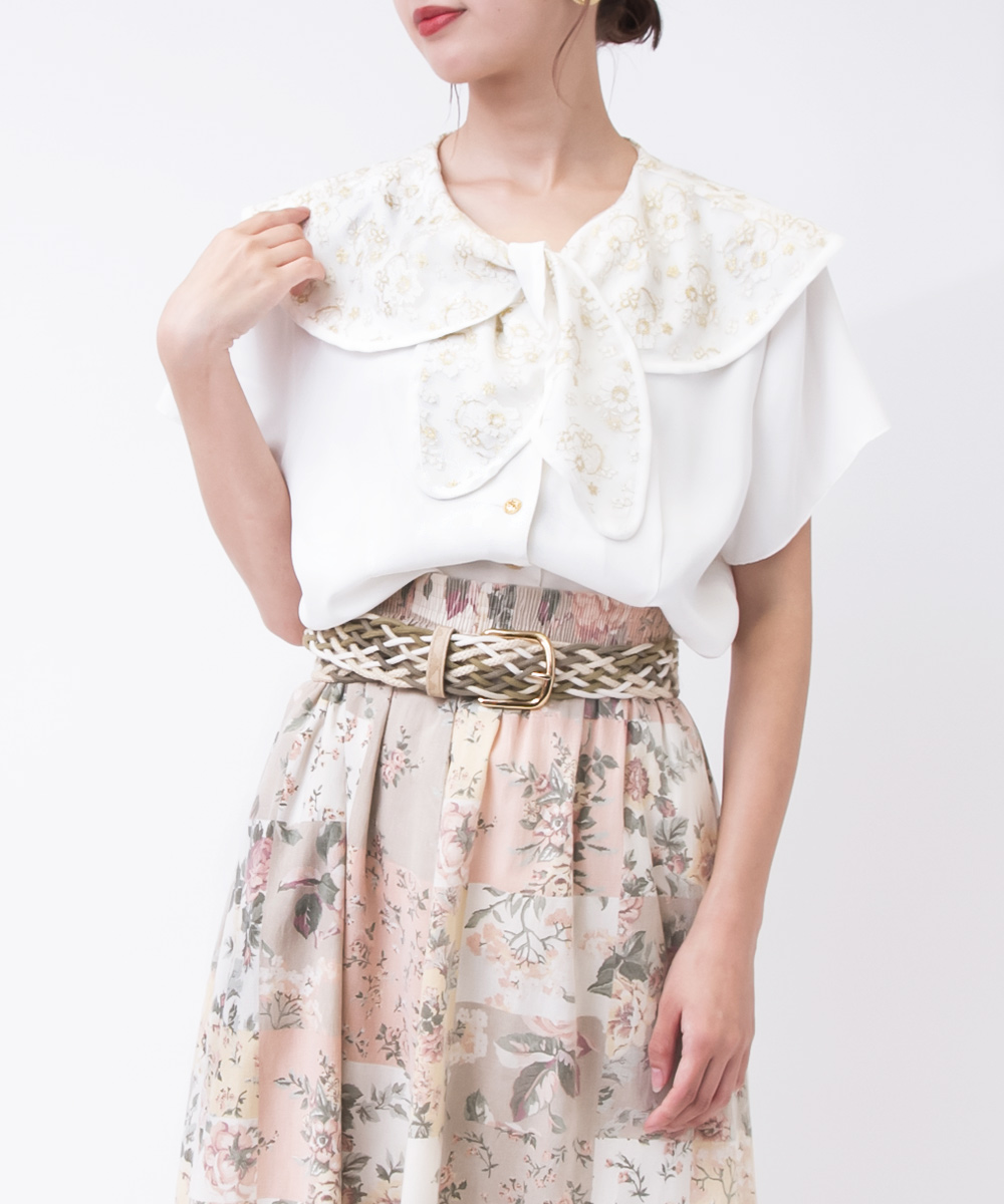 Gold Embroidery Ribbon Tie Dress