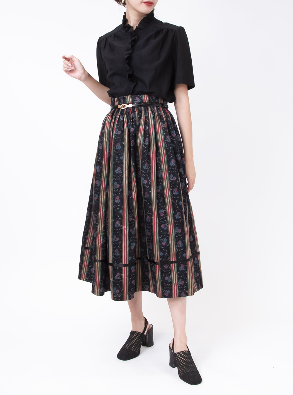 Stripe & Rose Design Black Tyrol Skirt