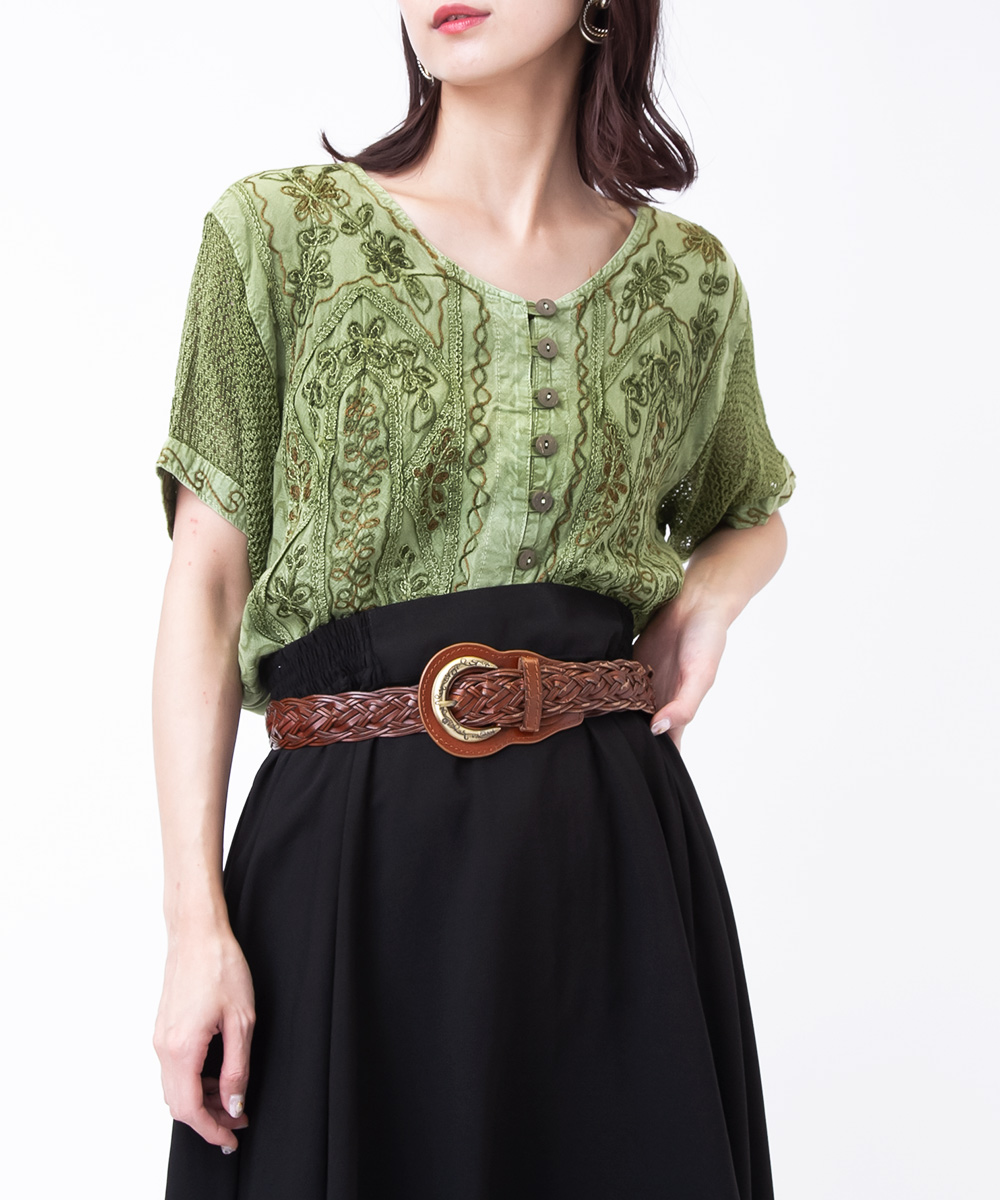 Green Embroidery Indian Blouse