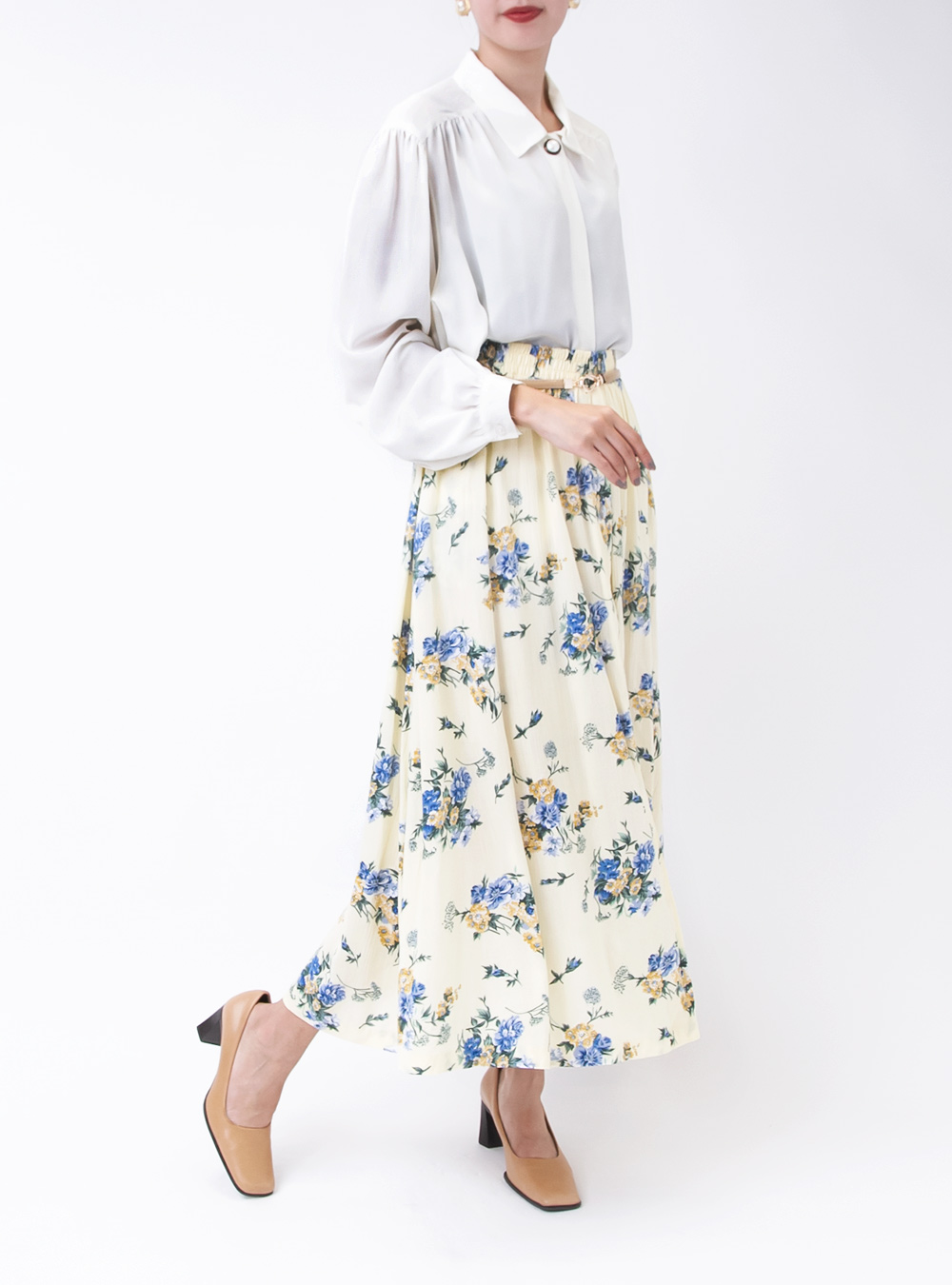 Light Yellow Bouquet Design Skirt