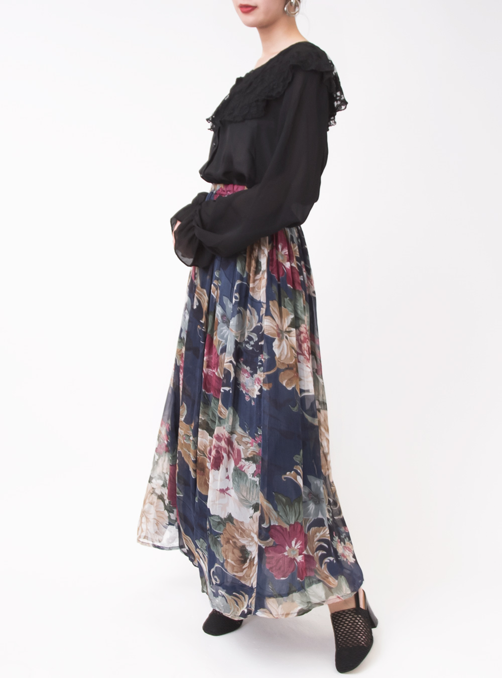 Flower Textile Gather Skirt