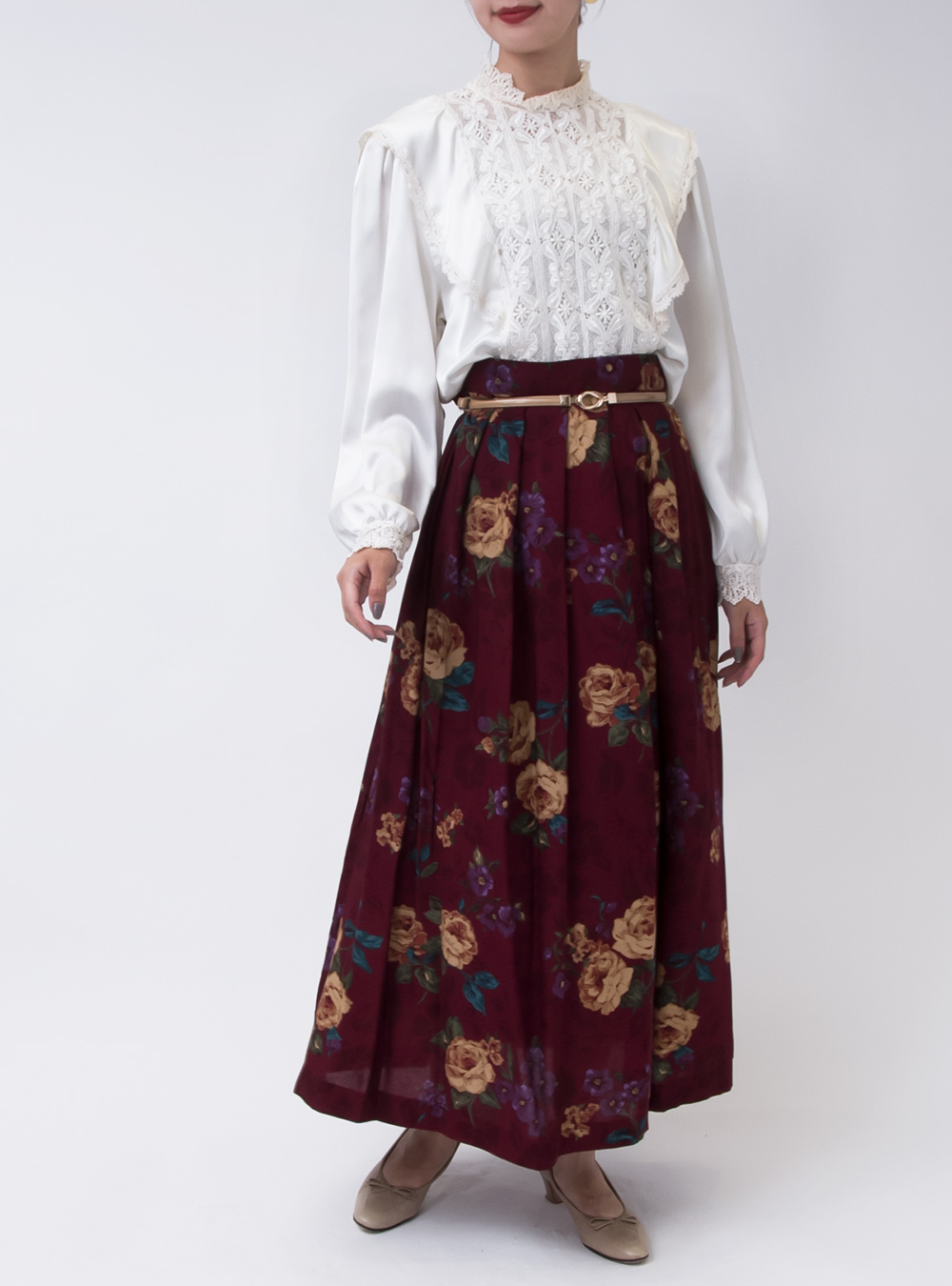 1970's Wine Red Flower Design Skirt