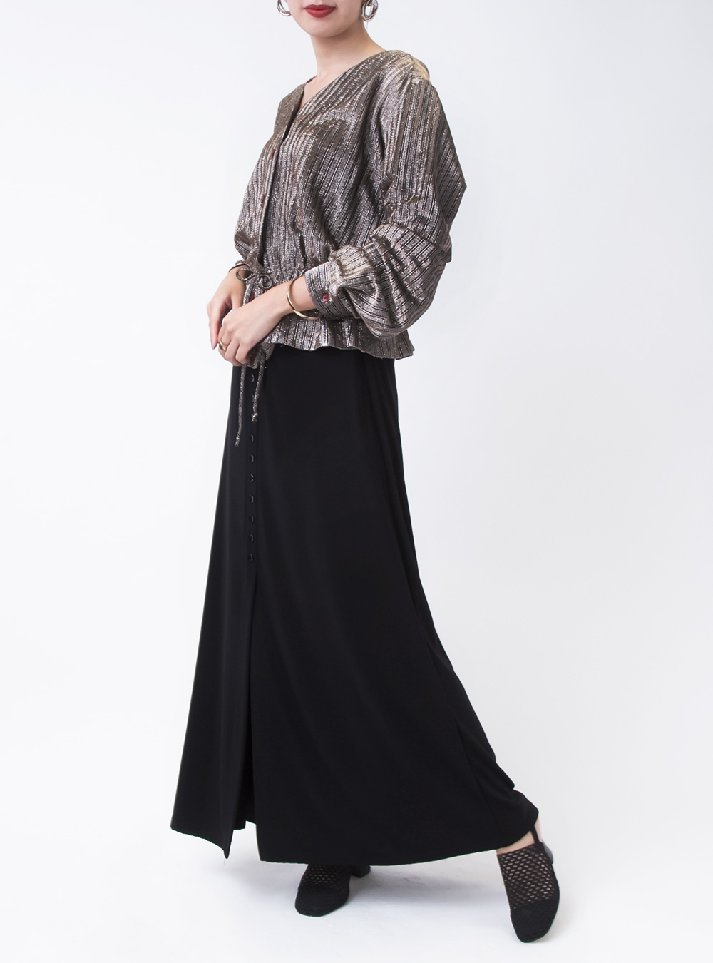 Front Button Black Skirt