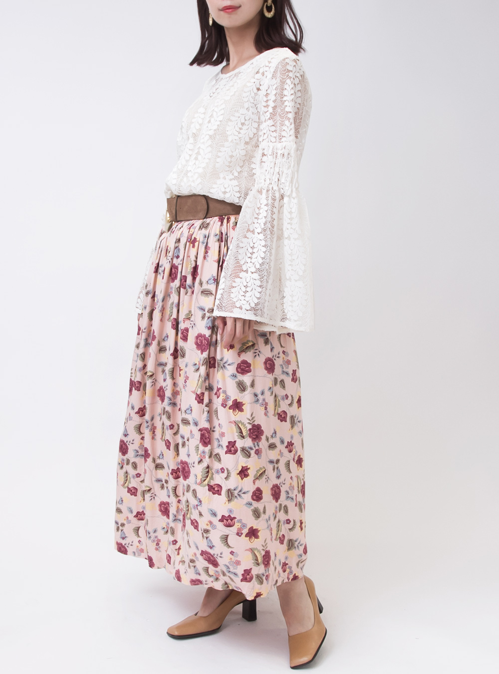Art Flower Design Pink Skirt