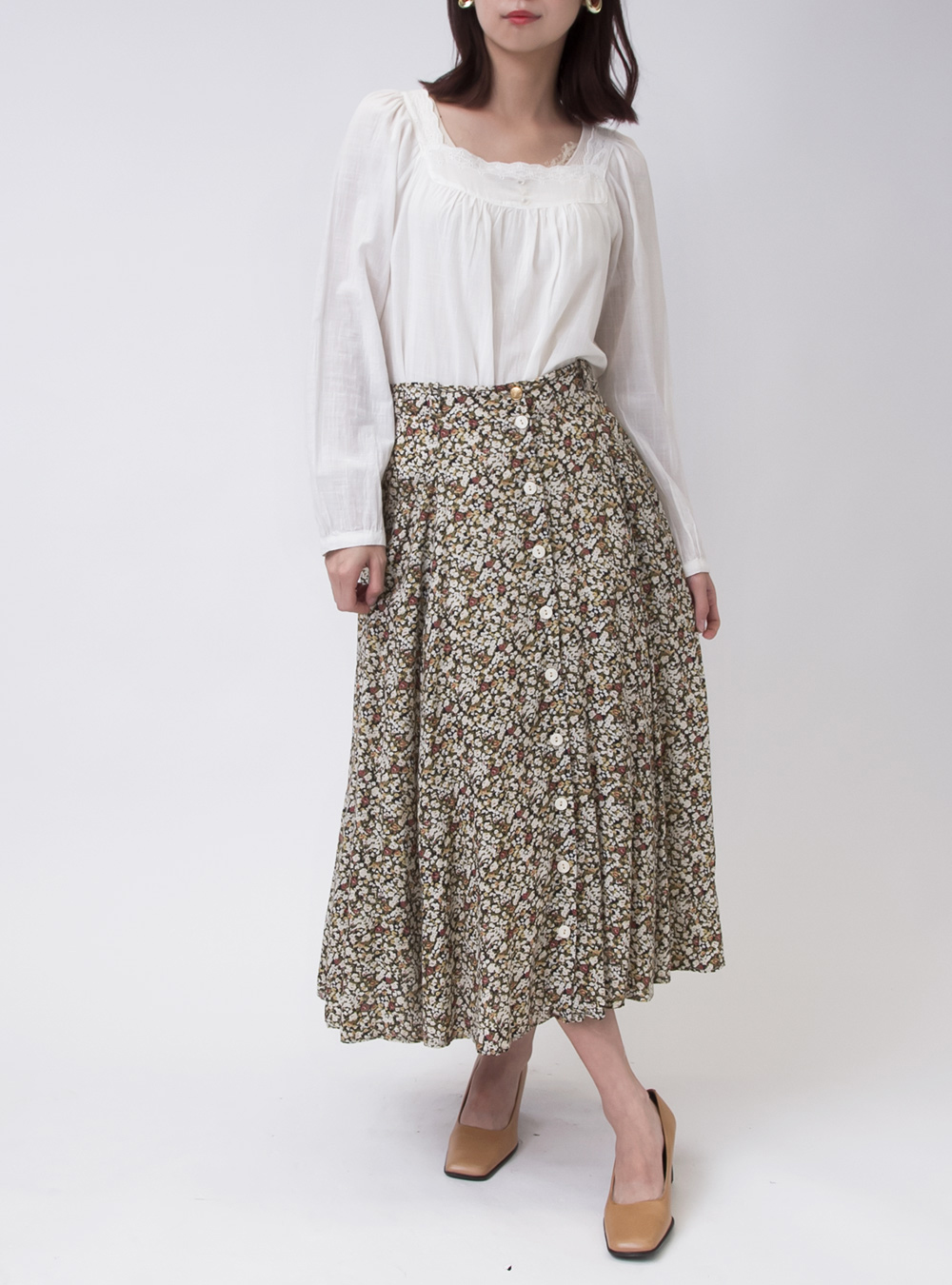 Total Flower Front Button Skirt