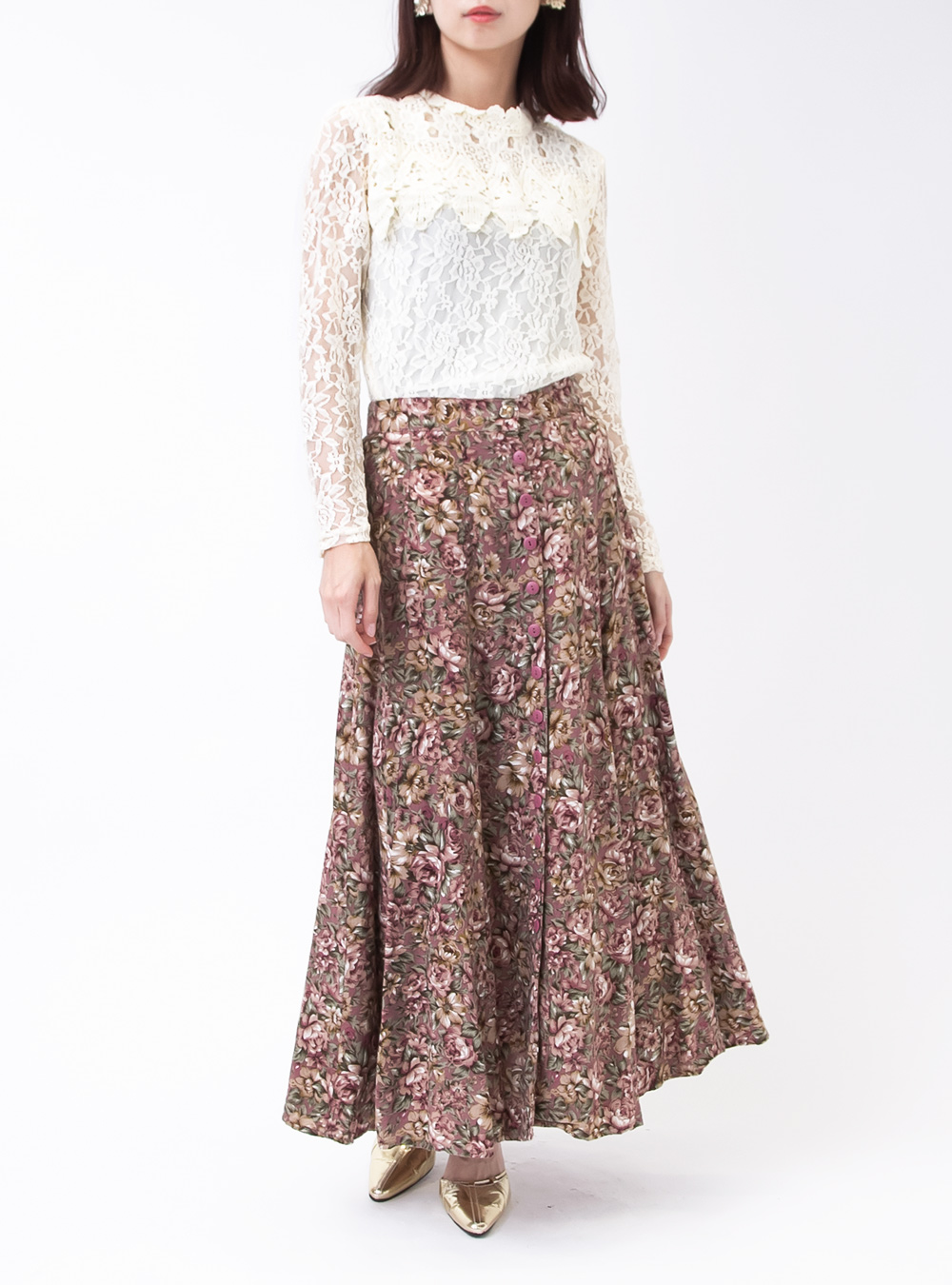 Dusty Pink Flower Print Skirt