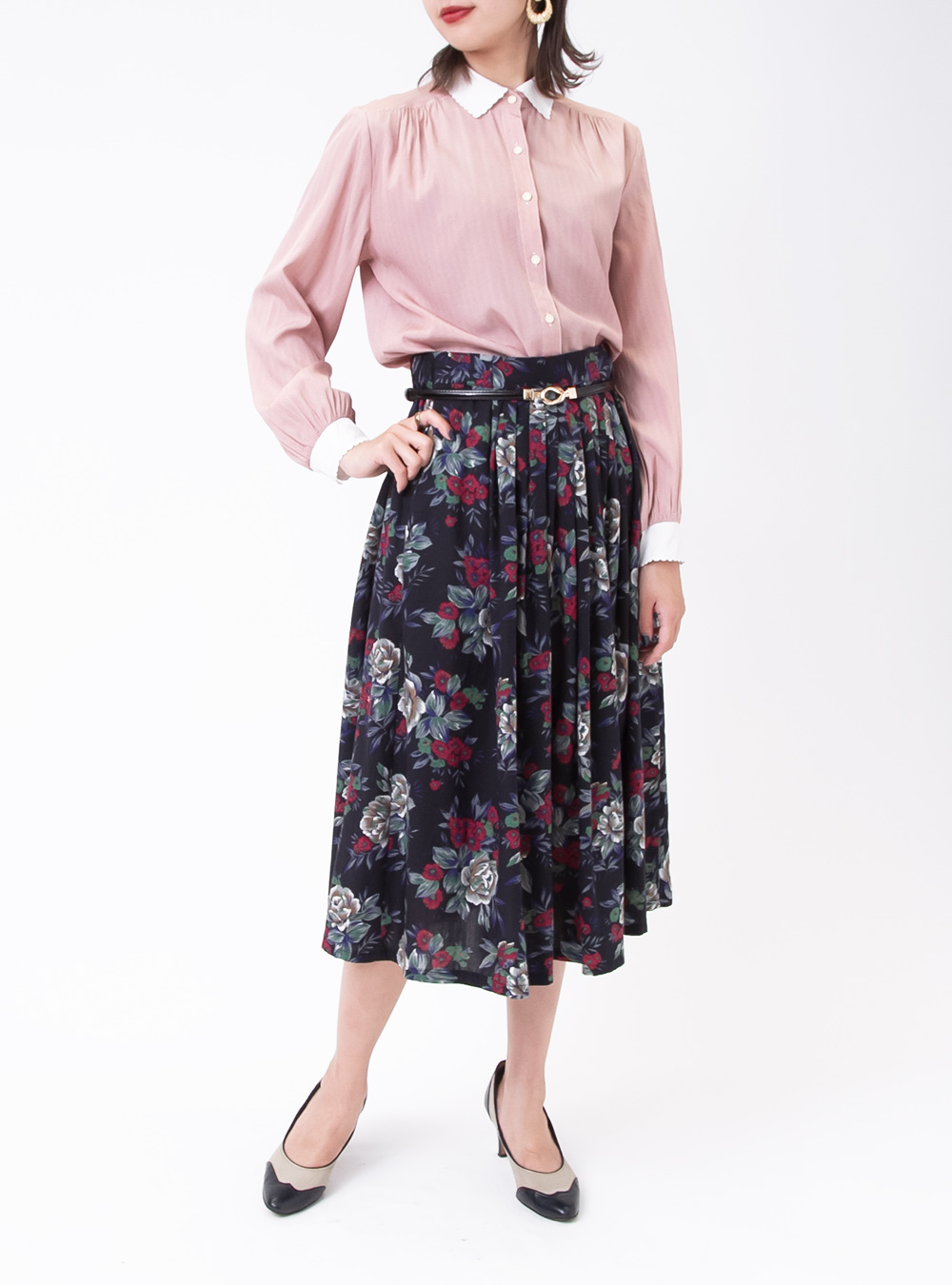 Brilliant Flower Design Black Skirt