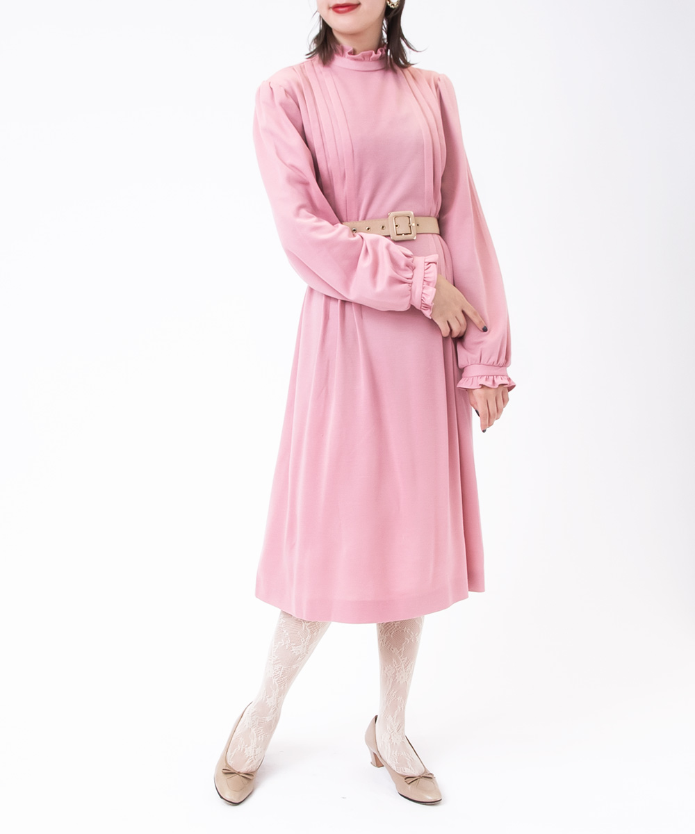 1970's  I Line Smoky Pink Dress
