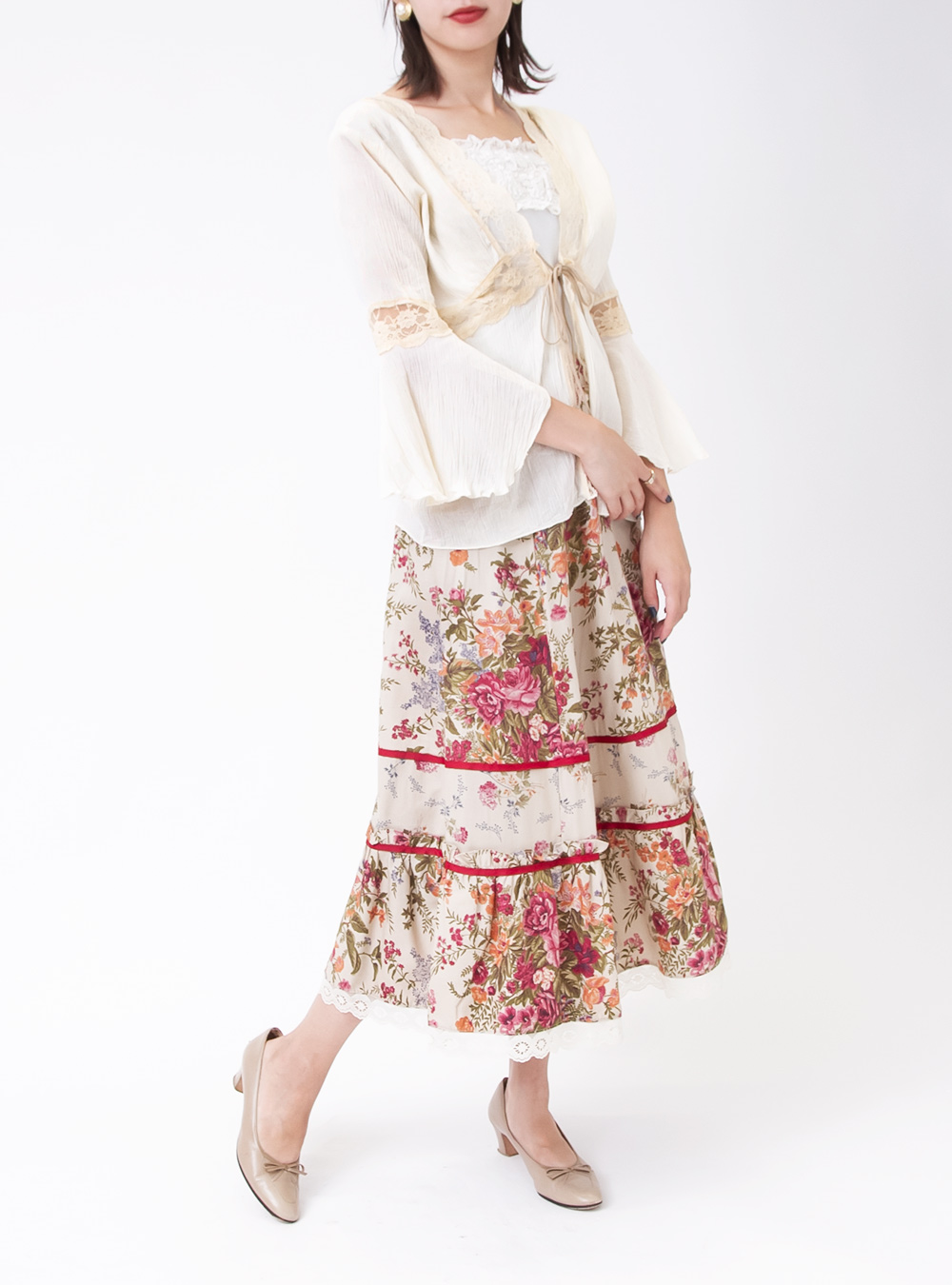 Flower Lace Ribbon Design Skirt