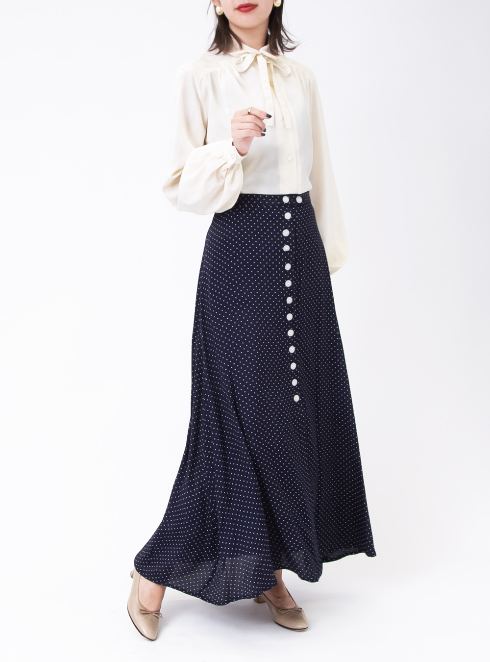 Dot Print Front Button Skirt