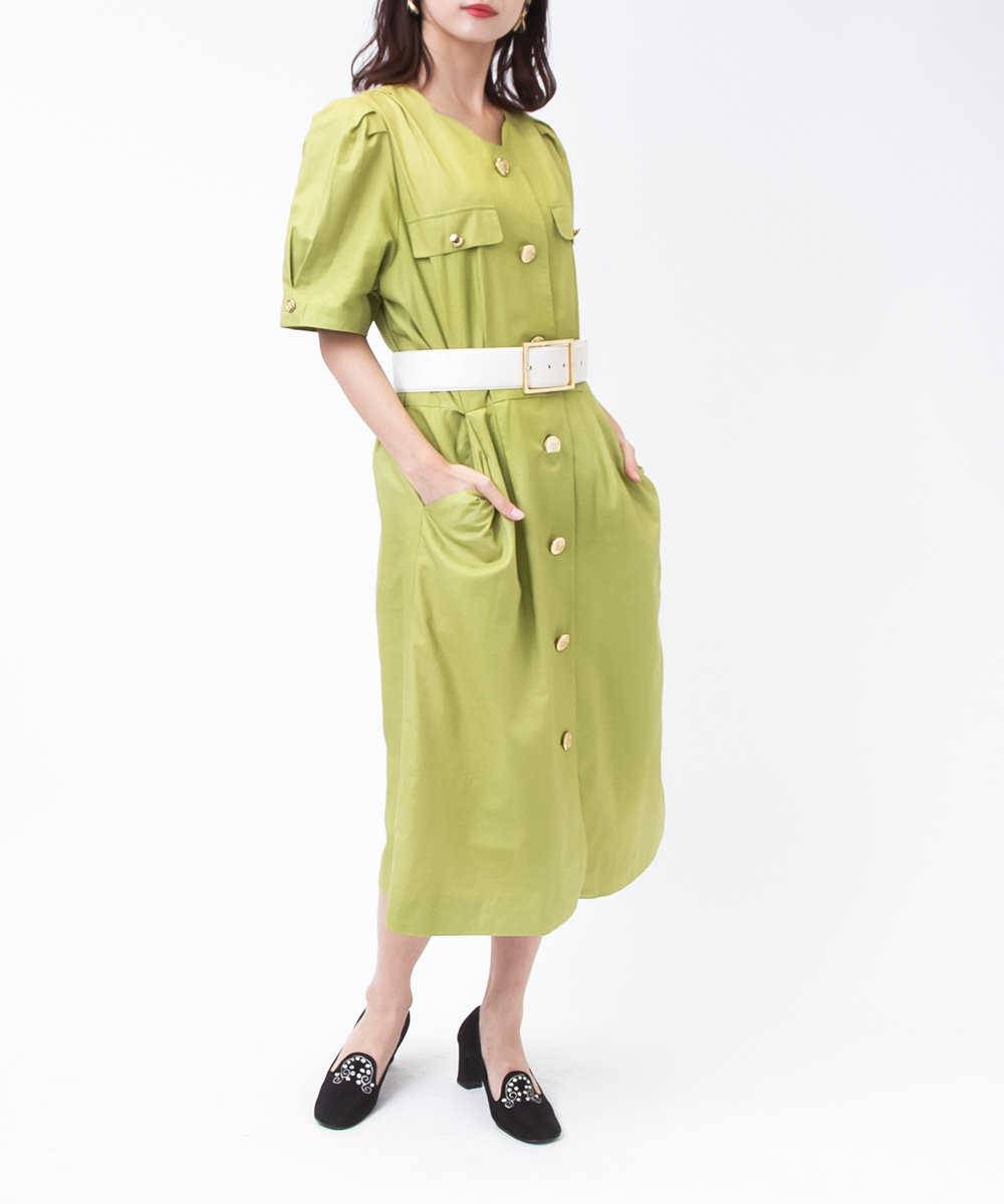 Pistacchio Green Gold Button Dress