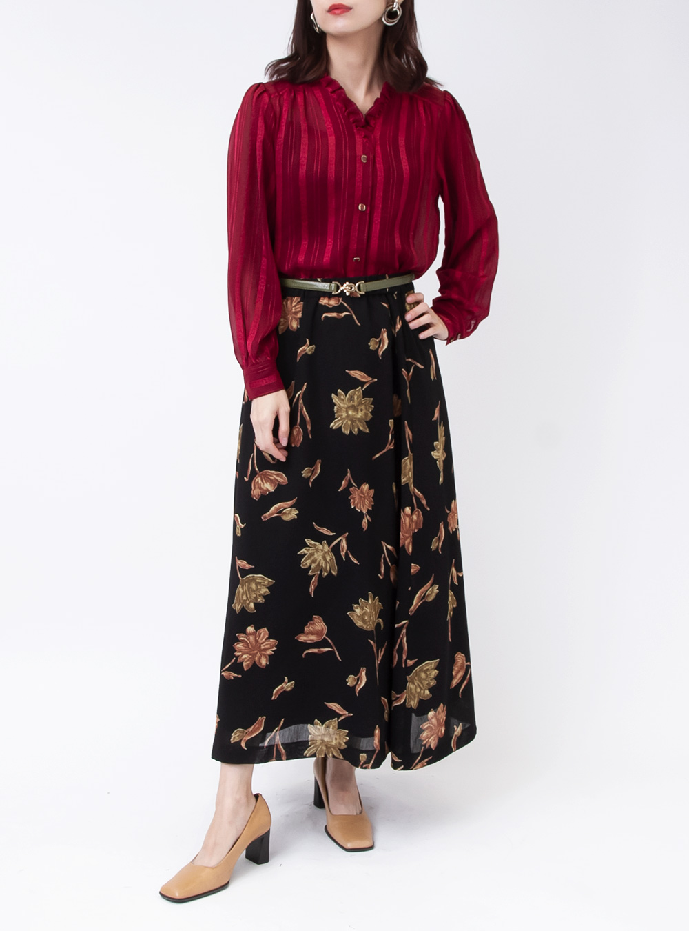 Black Art Flower Print Skirt