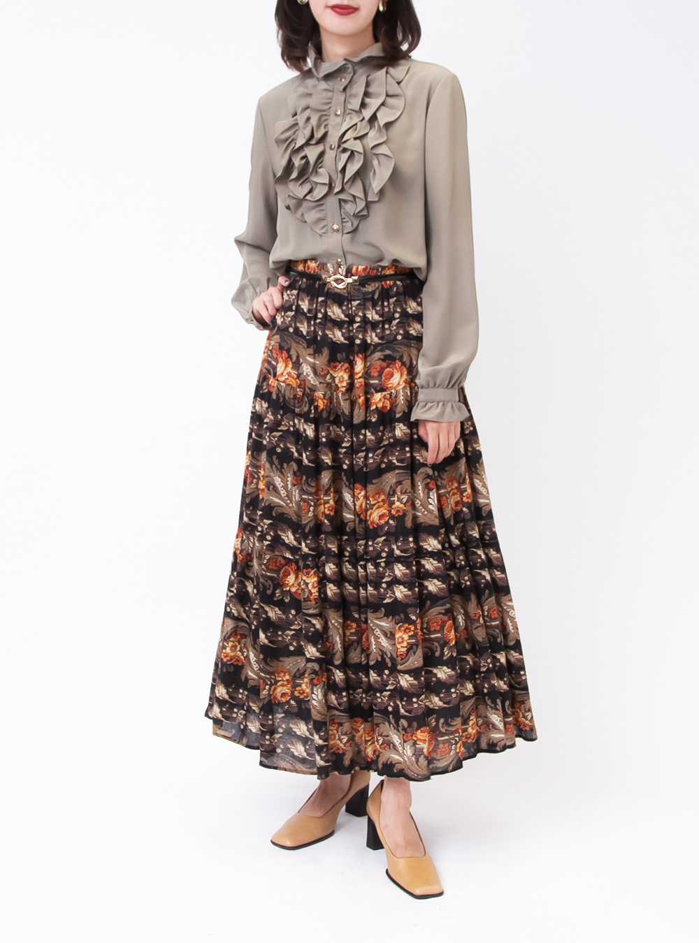 Orange Flower Design Skirt