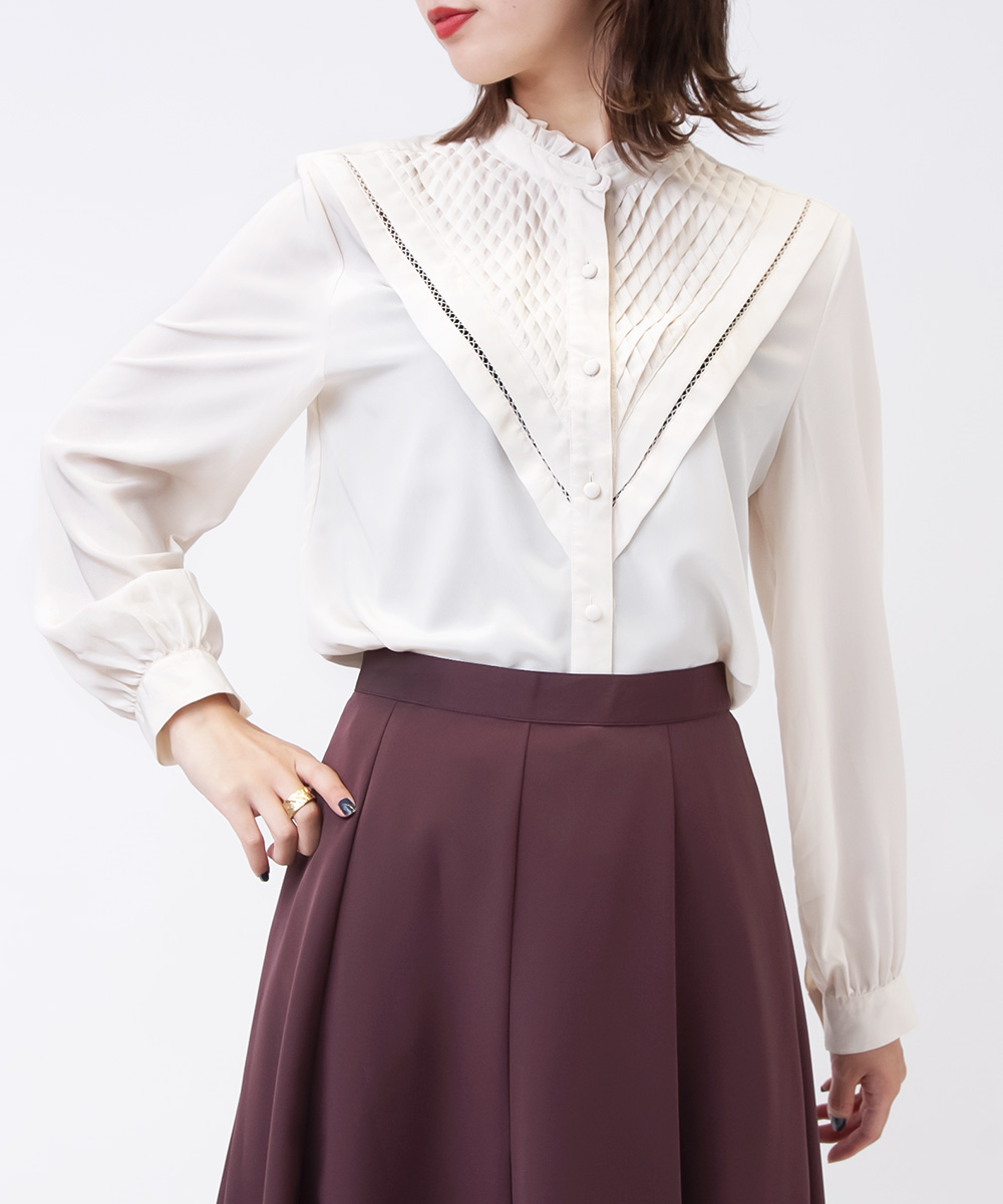 Ivory Pleats Design Frill Blouse