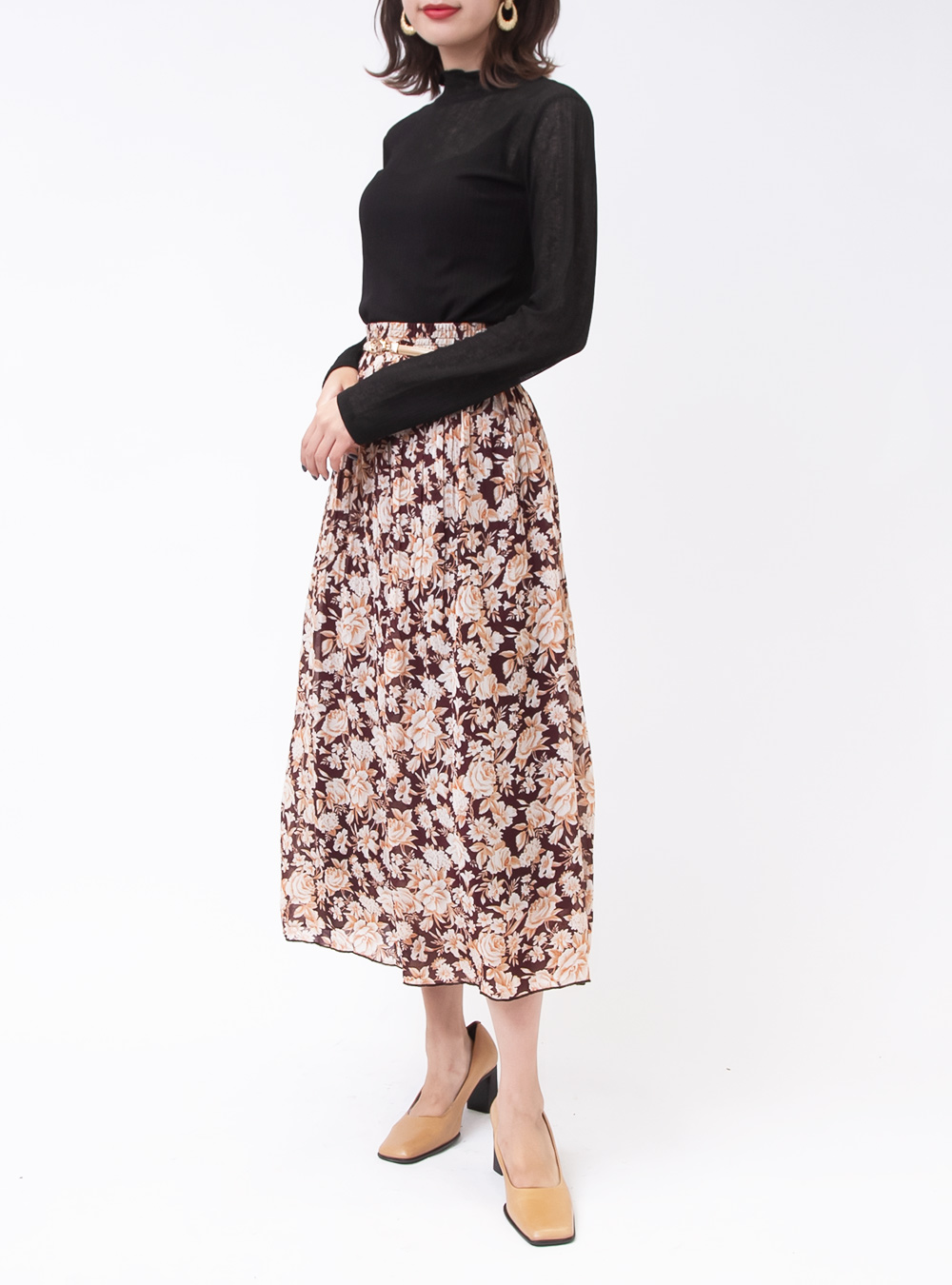 Wine Red Flower Print Sheer Skirt