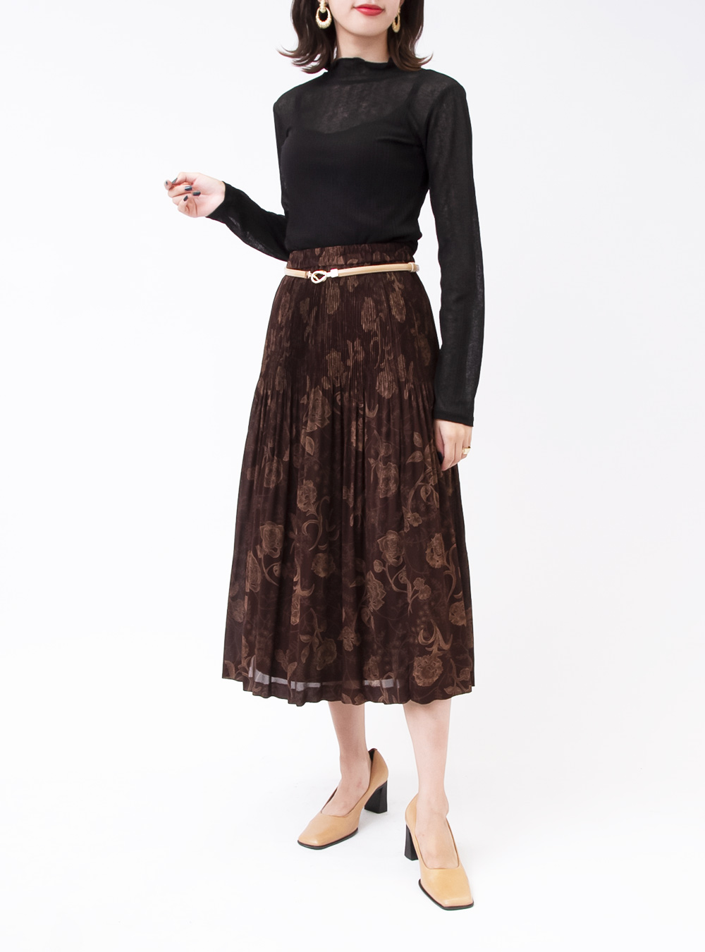 Brown Flower Print Skirt