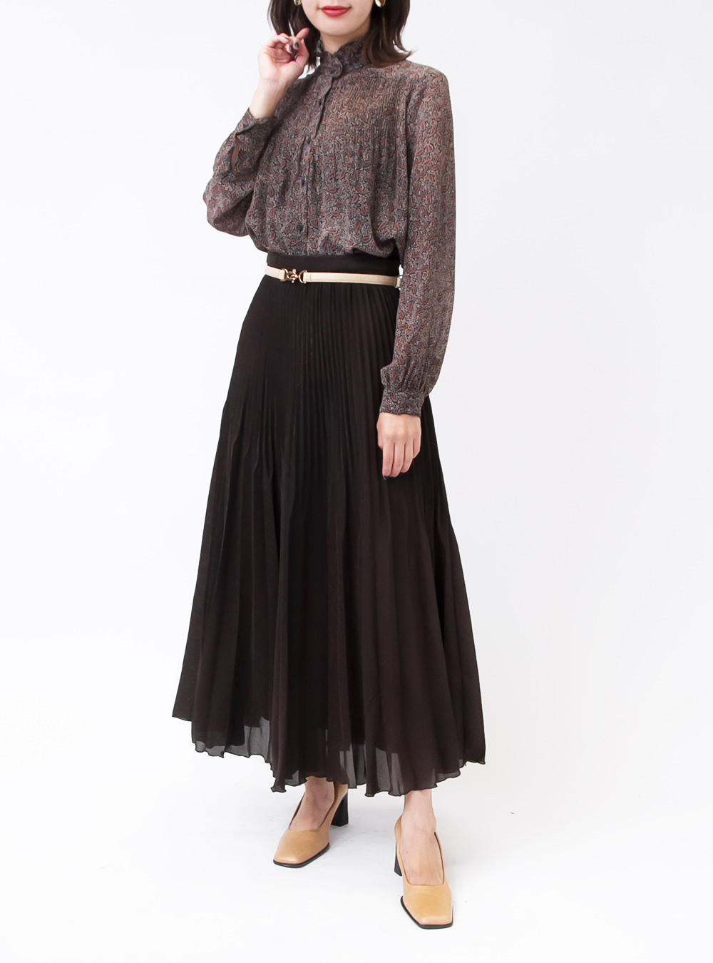 Dark Brown Flower Pleats Skirt