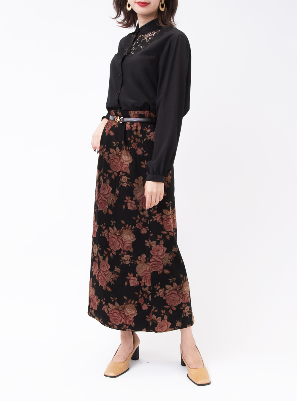 Black Rose Print Skirt