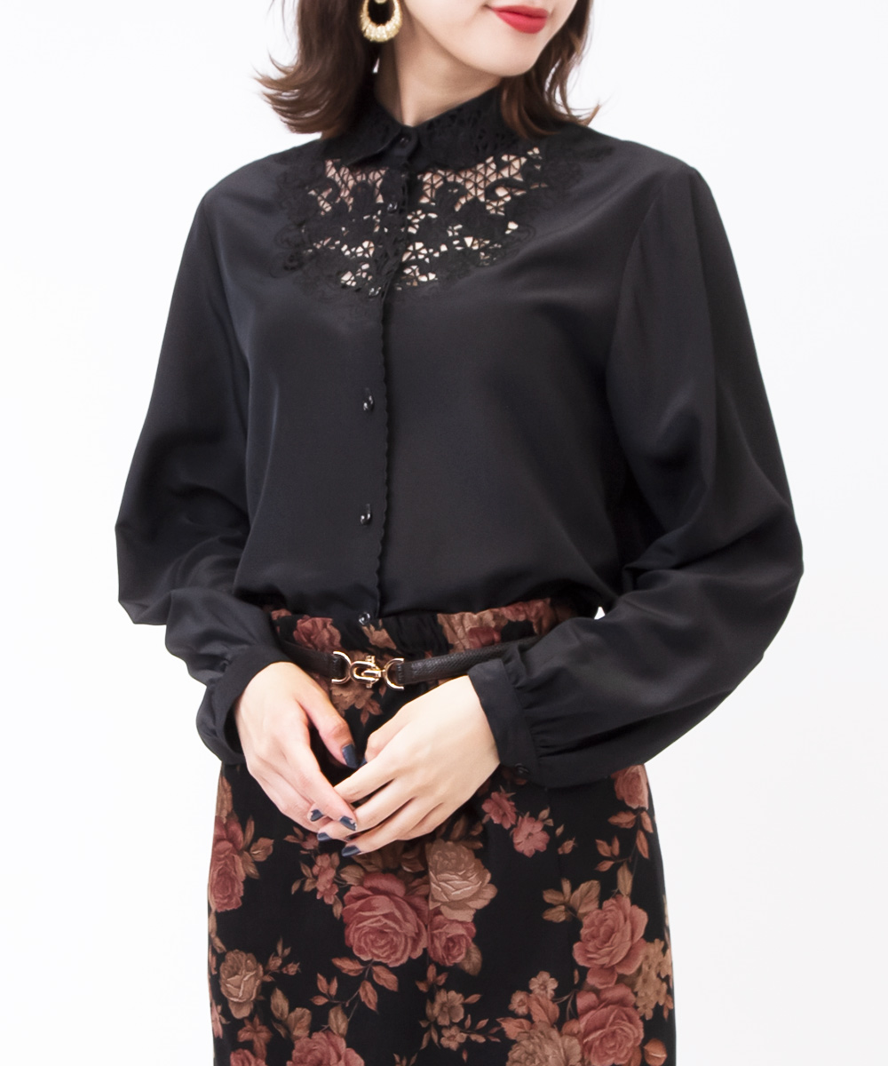 Black Flower Embroidery Blouse