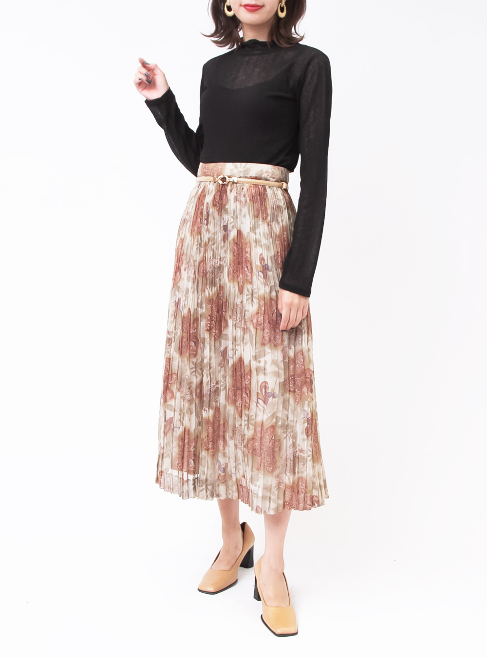 Art Flower Pleats Sheer Skirt