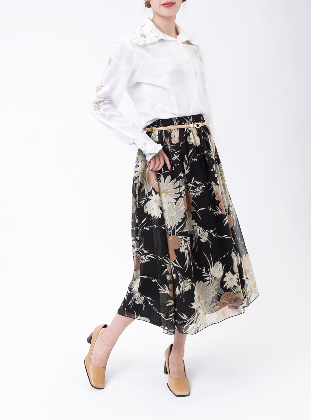 Sheer Black Art Flower Skirt