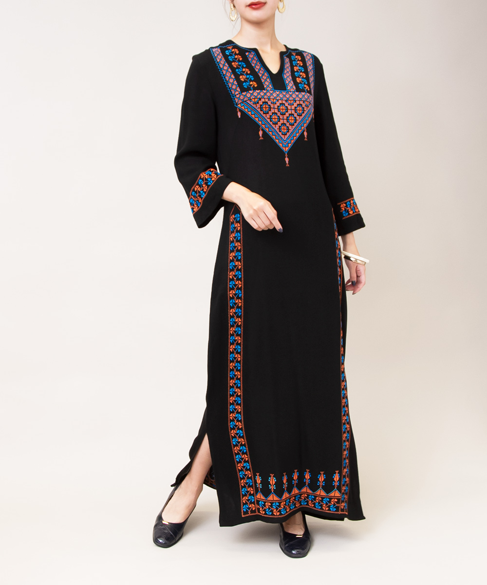 1970's Black Embroidery Exotic Dress