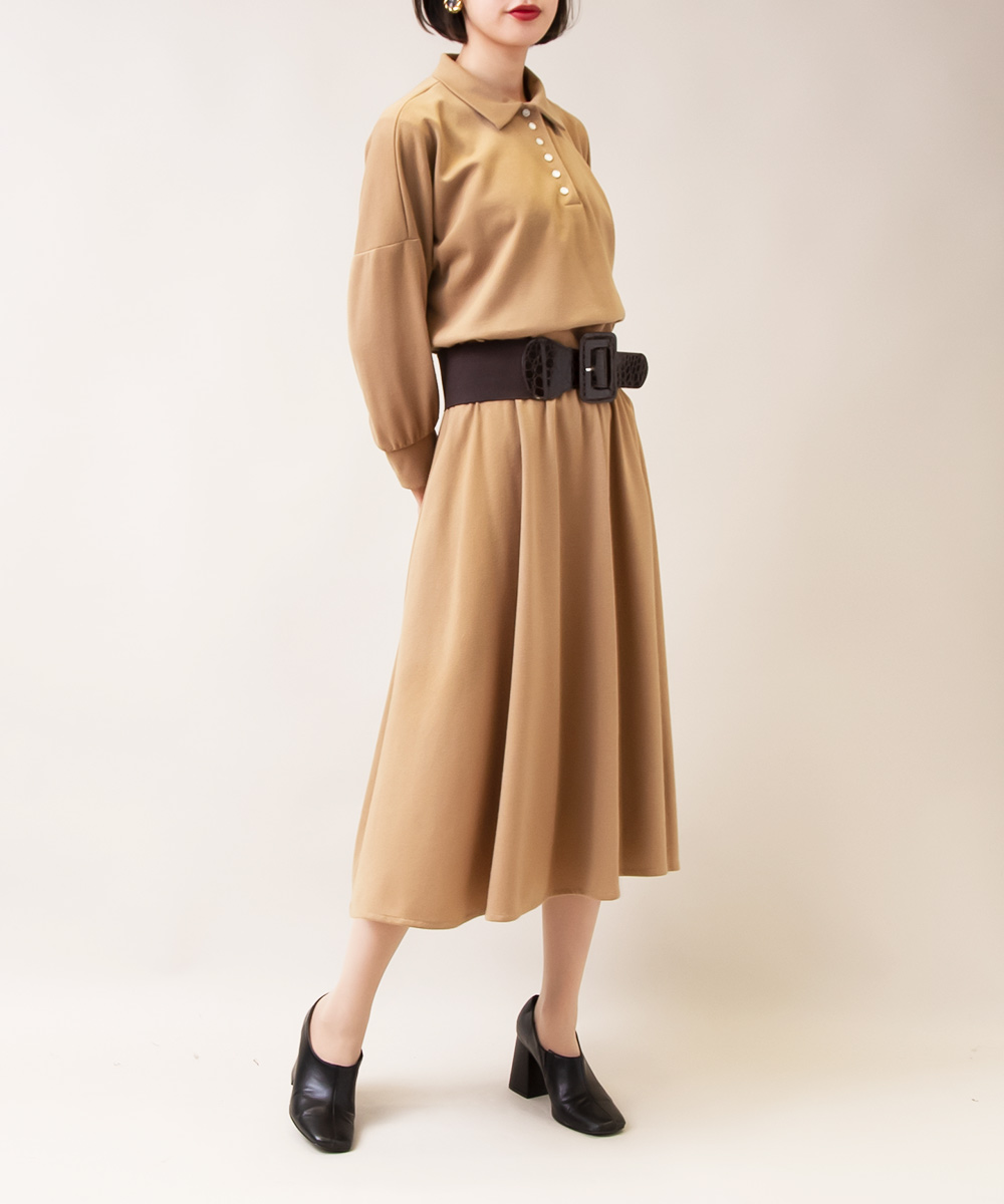 【Gold Earrings + Khaki Dress + Brown Belt】3点