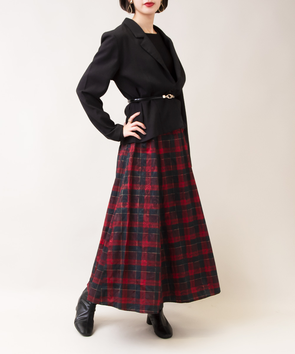 【Black Tailored Jacket + Red Check Skirt Dress 】2点