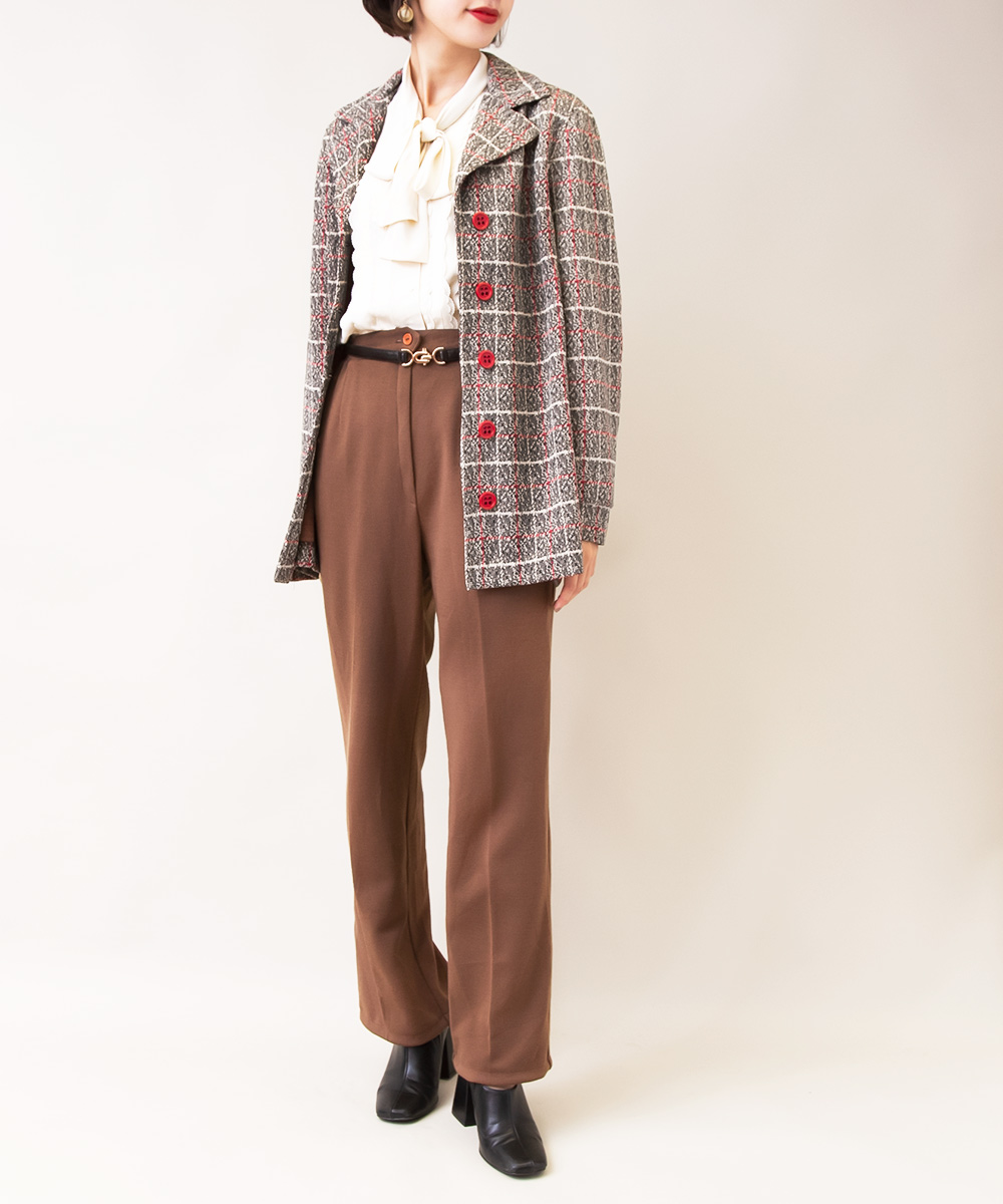 【1970's Jacket + White Blouse + Brown Pants】3点】