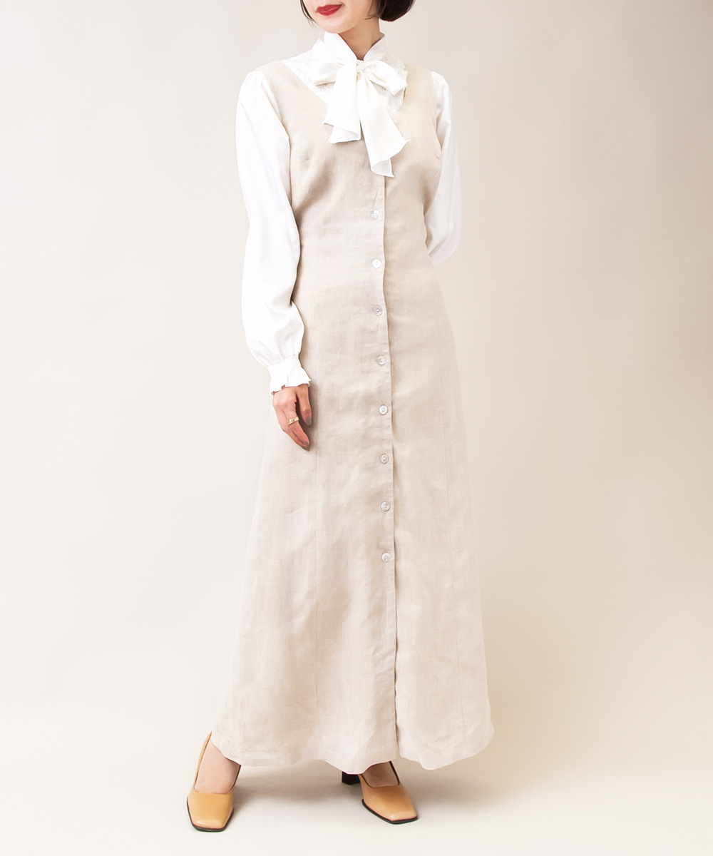 【Beige Long Dress + Flower Embroidery Blouse】2点
