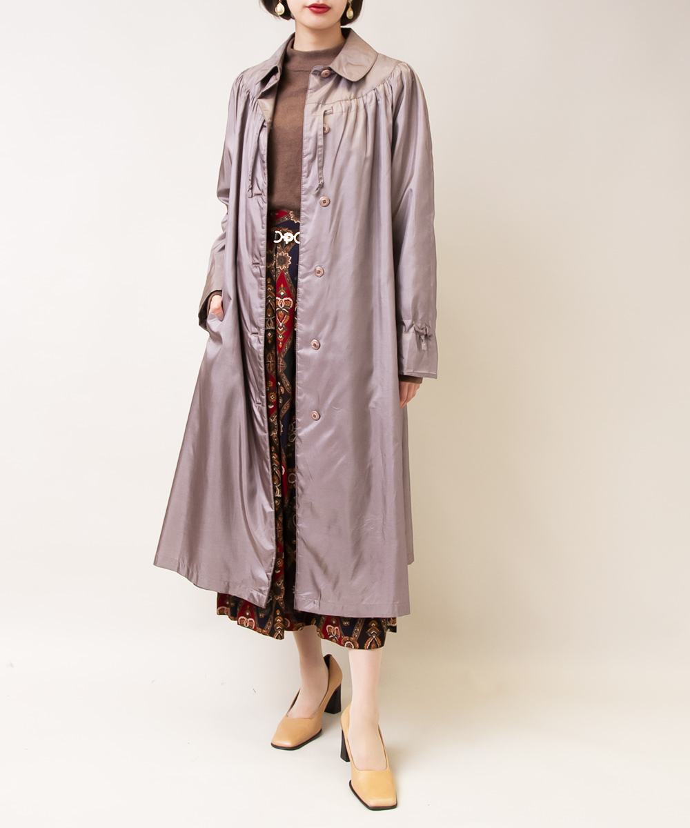 【1970's Grey Coat + Brown Knit + Flower Skirt】3点