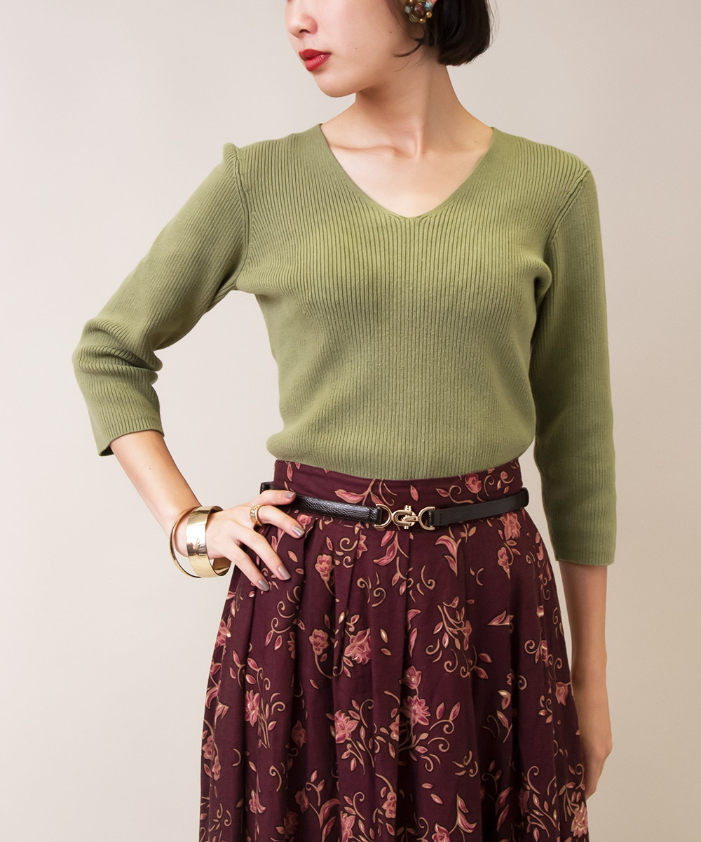 【Green Knit + Paisley Skirt + Earrings】3点