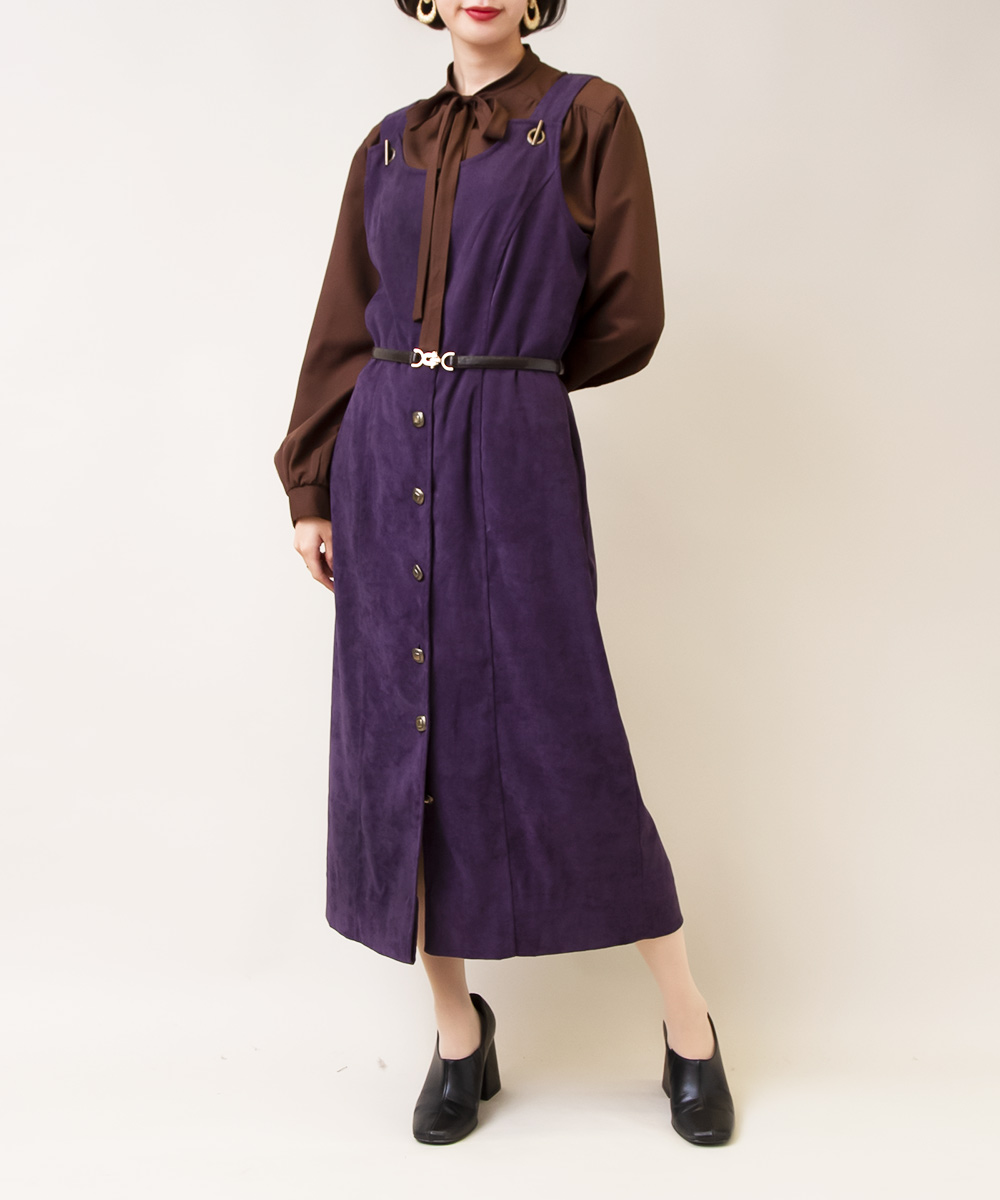 【1970's Brown Blouse + Purple Jumper Dress】2点
