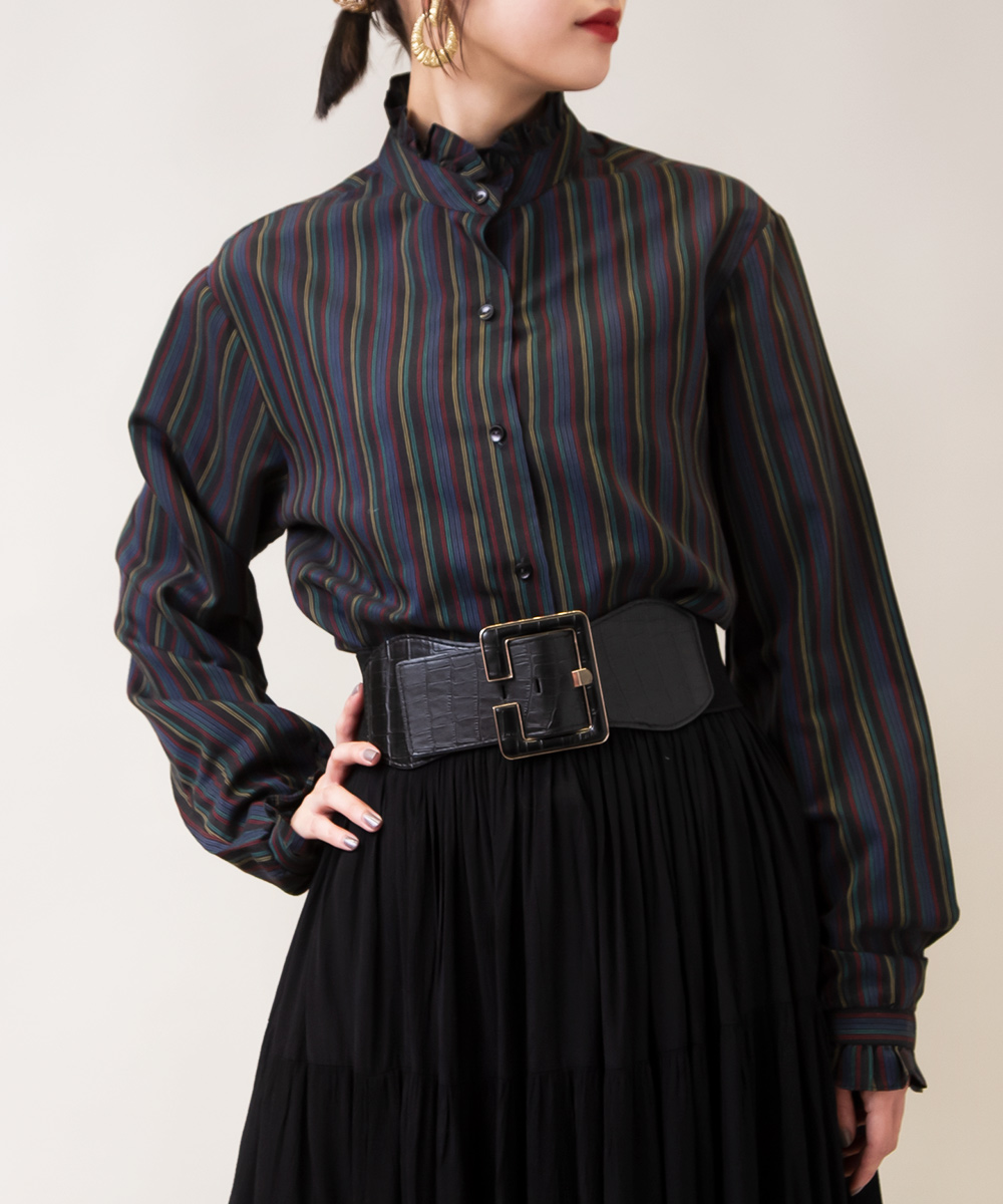 Stripe  Black×Colorful Colour Blouse