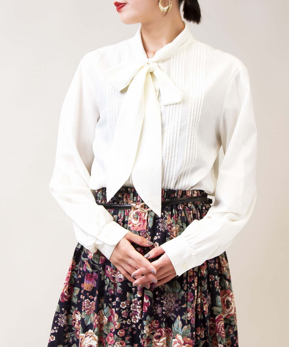 White Ribbon Tie Blouse