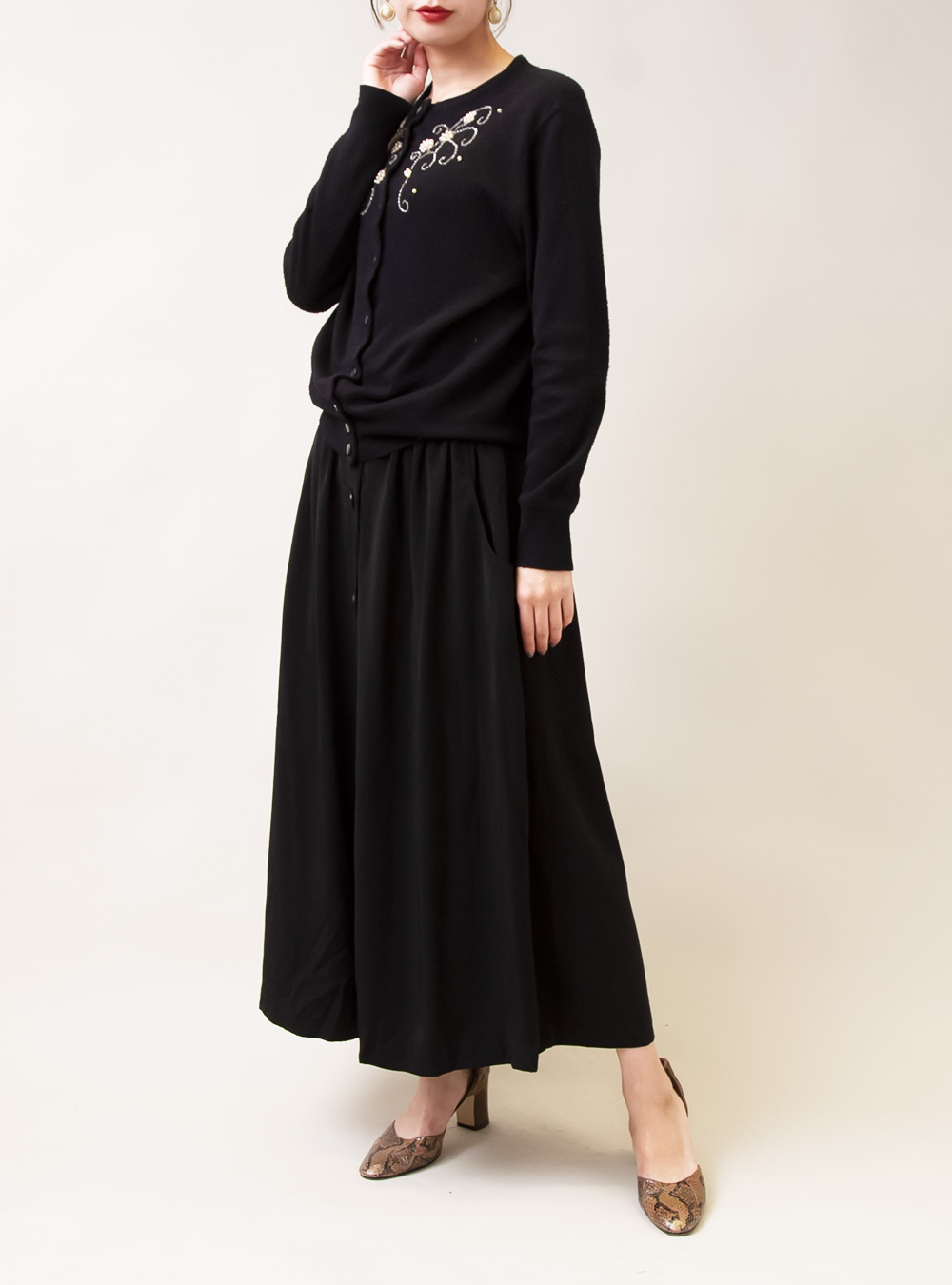 Black Front Button Skirt