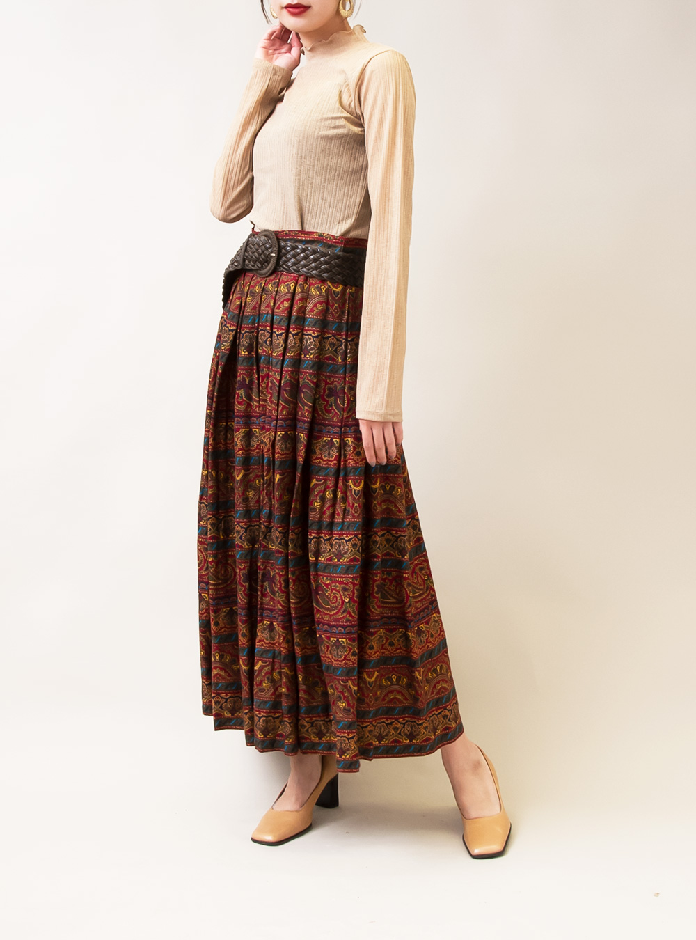 Ethnic Color Paisley Pleats Skirt