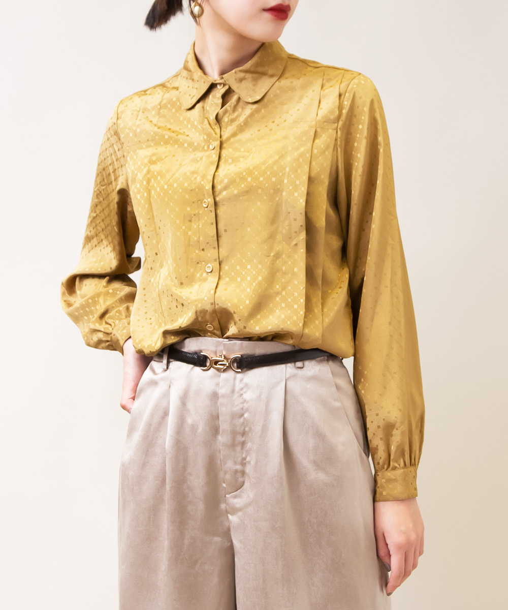 Shiny Mustard Yellow Square Dot Blouse