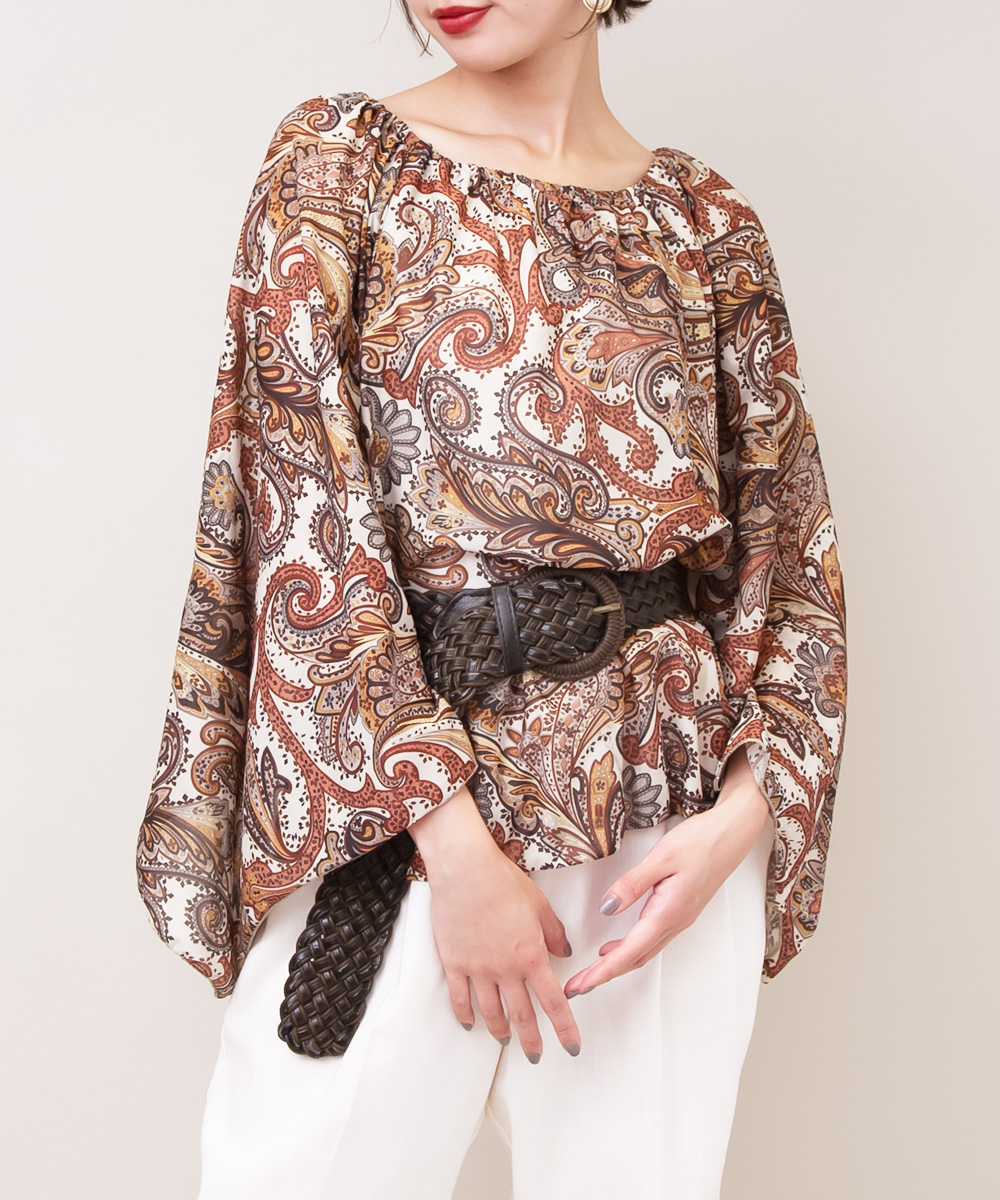 Brown Paisley Big Sleeve Blouse