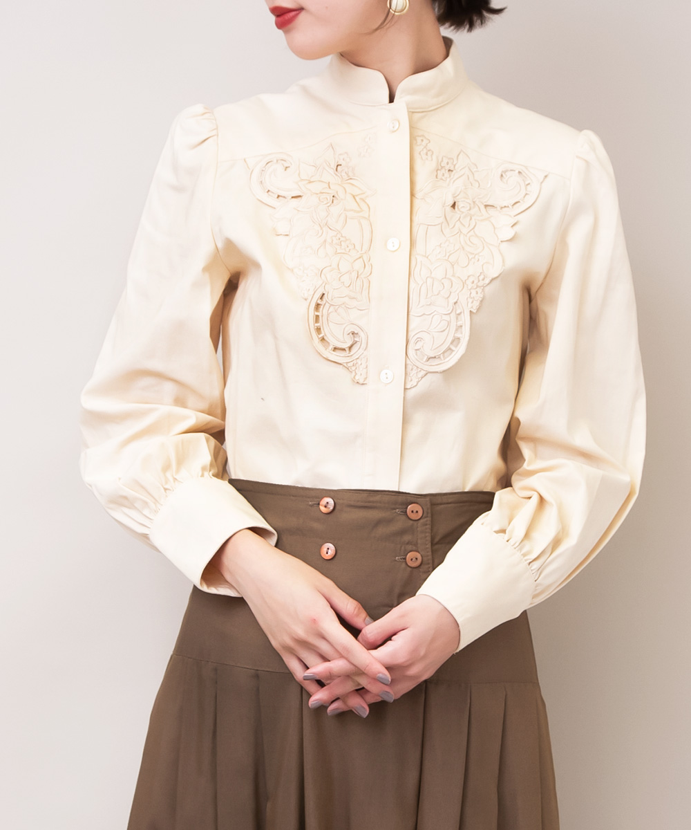 White Beige Front Embroidery Blouse