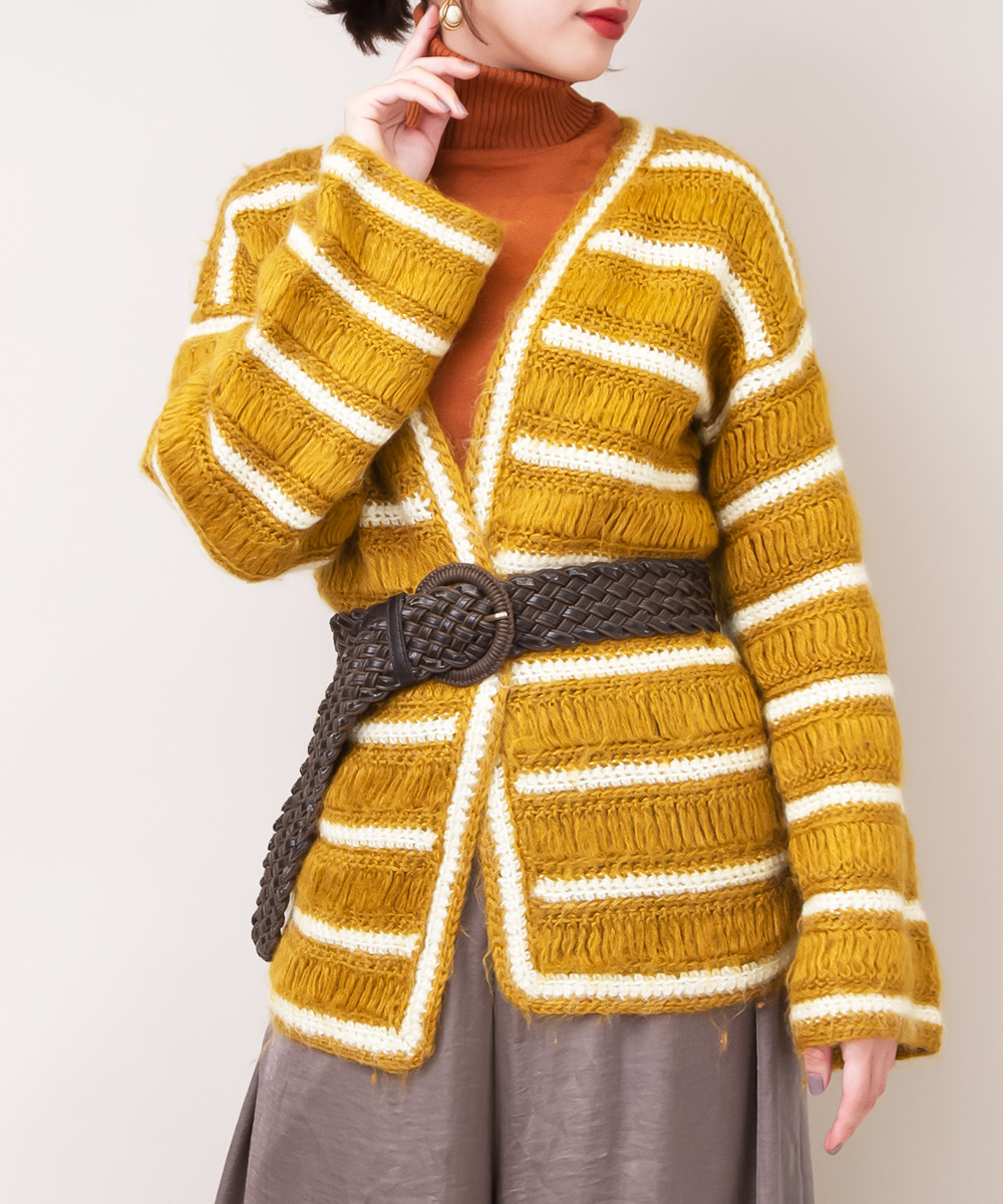 Mustard Yellow Boarder Design Knit
