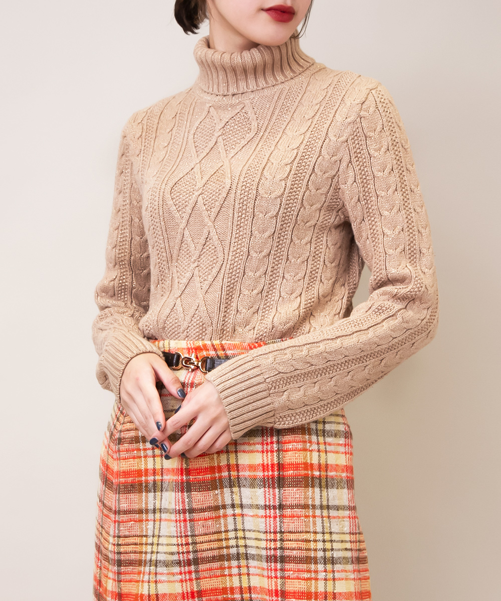 Shiny Pale Brown Turtle Neck Knit