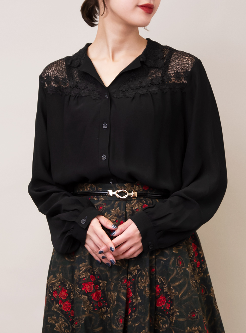 Black Lace Flower Blouse
